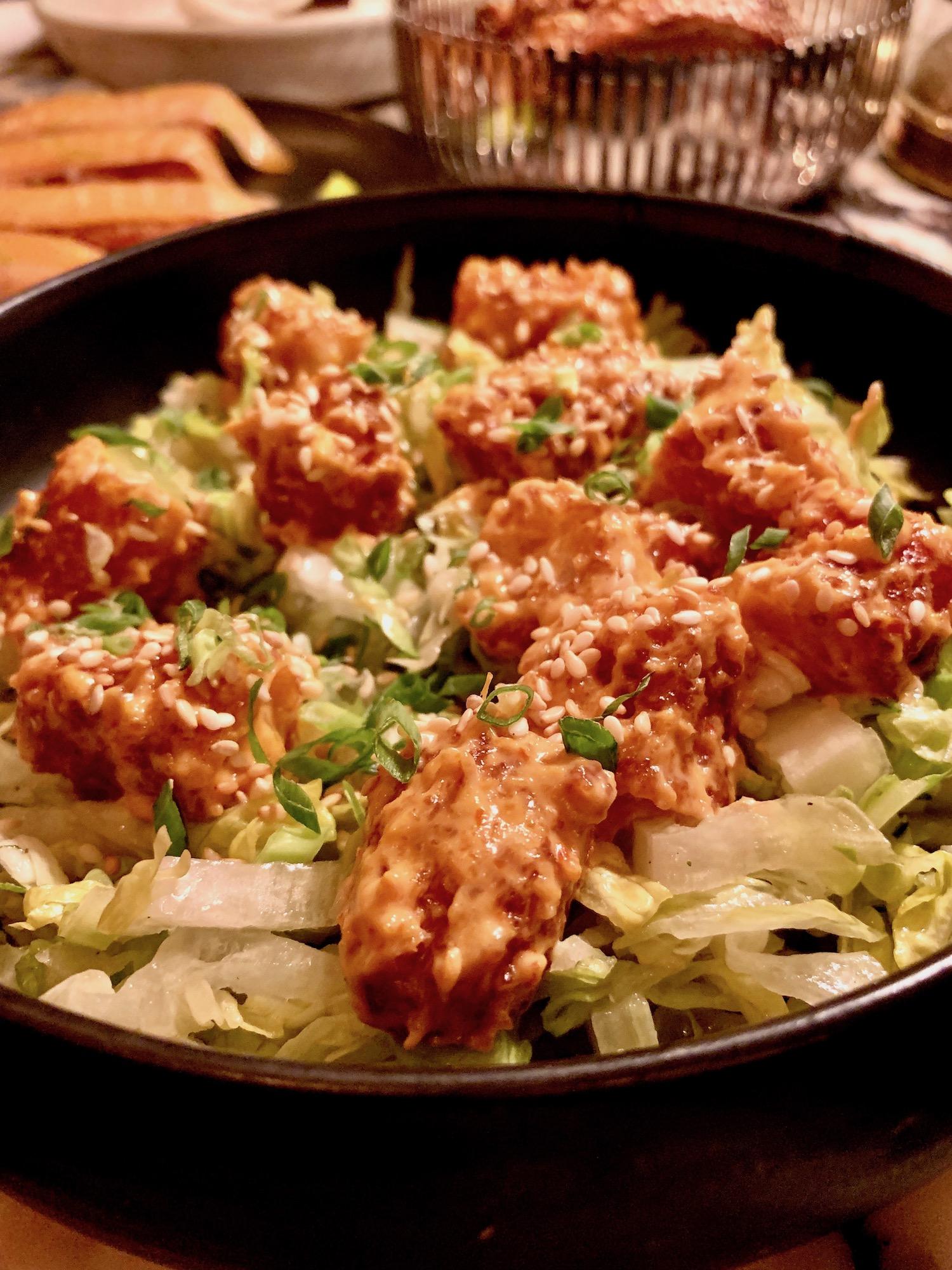 crispy shrimp appetizer at cyril lignac's aux prés