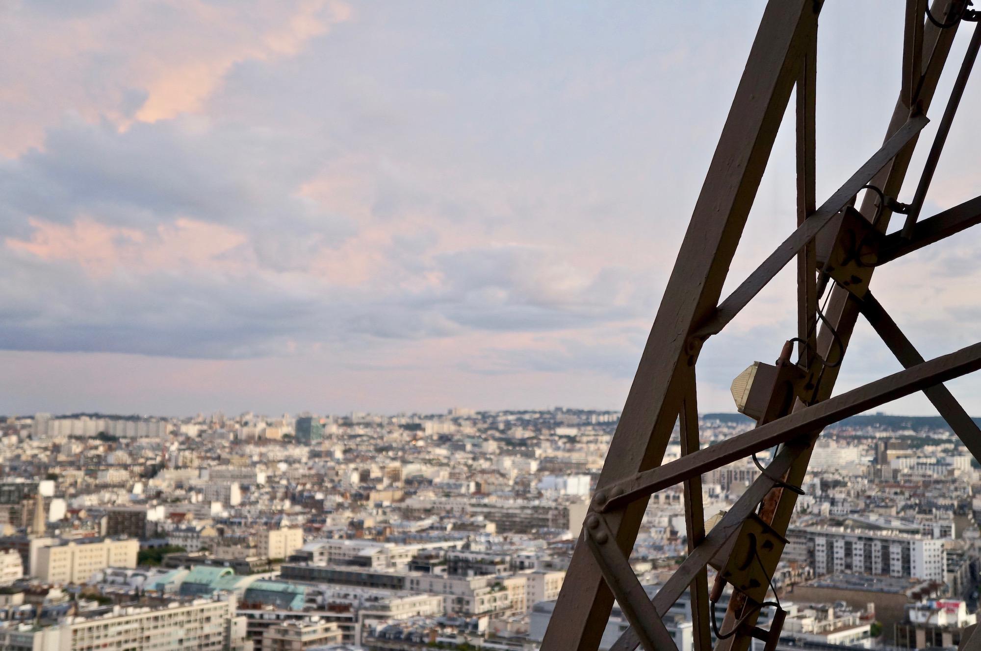 Eiffel Tower Descent view of Paris