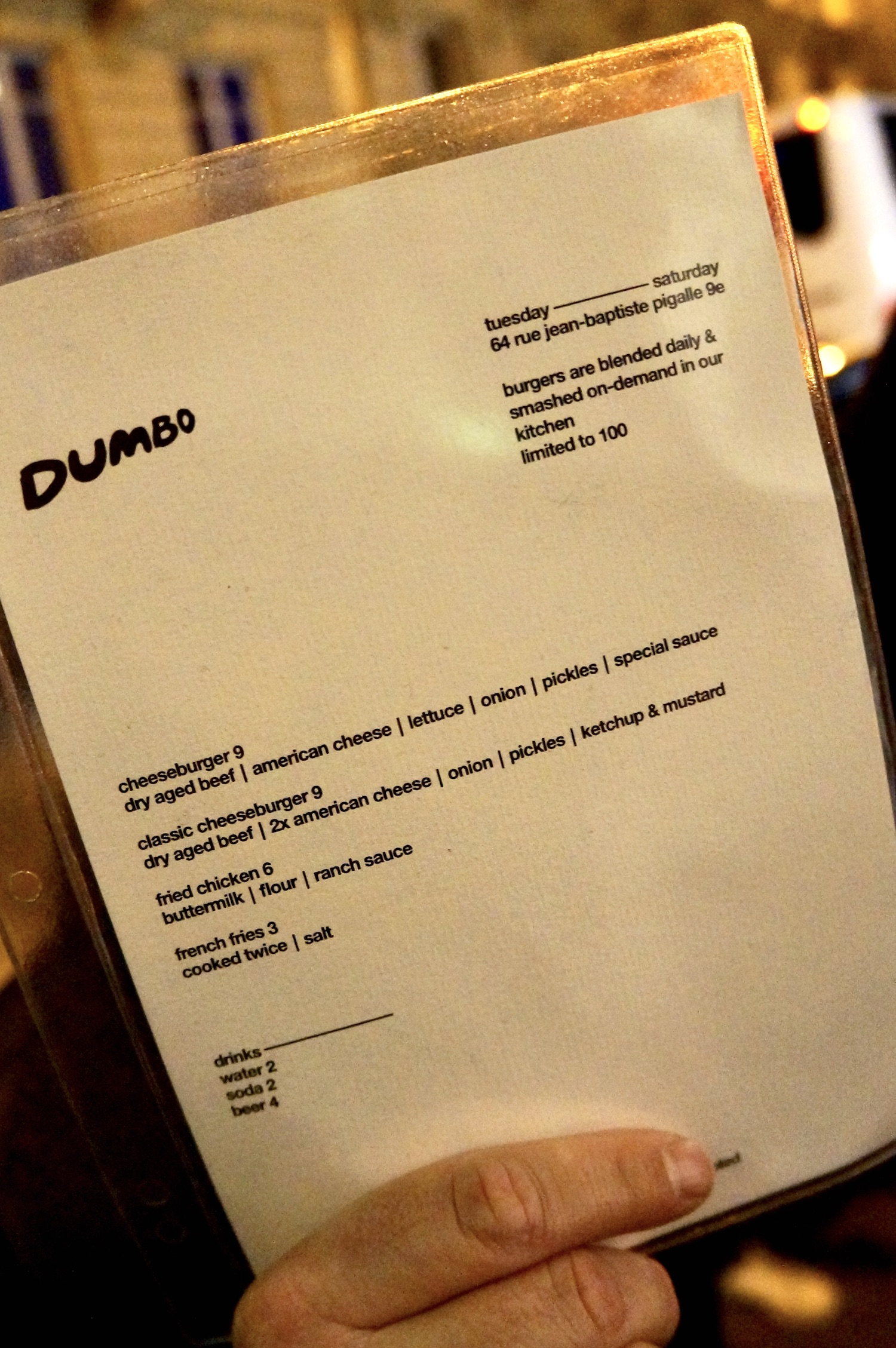 Dumbo Paris Menu