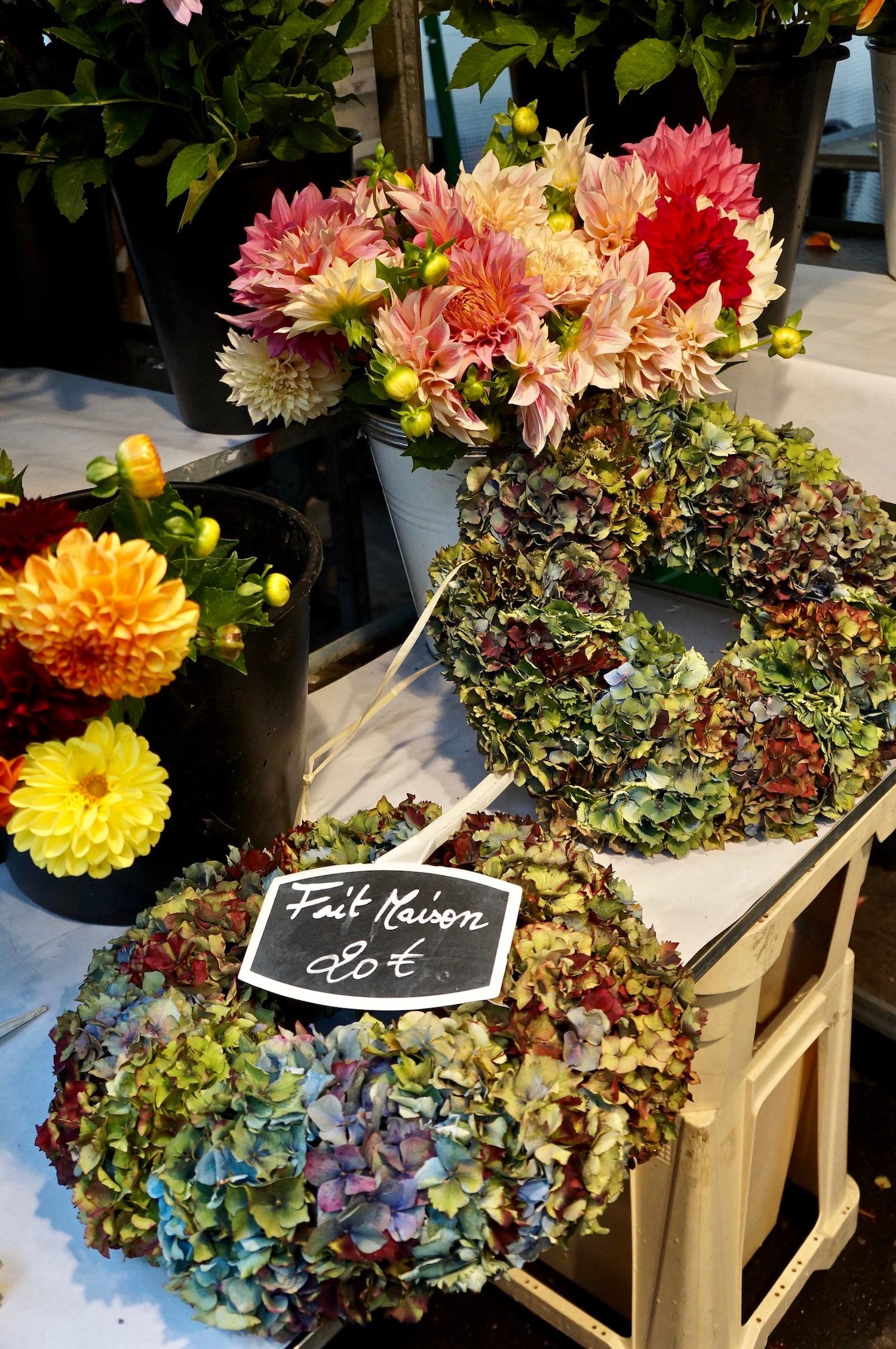 Hydrangea flower wreath open-air market