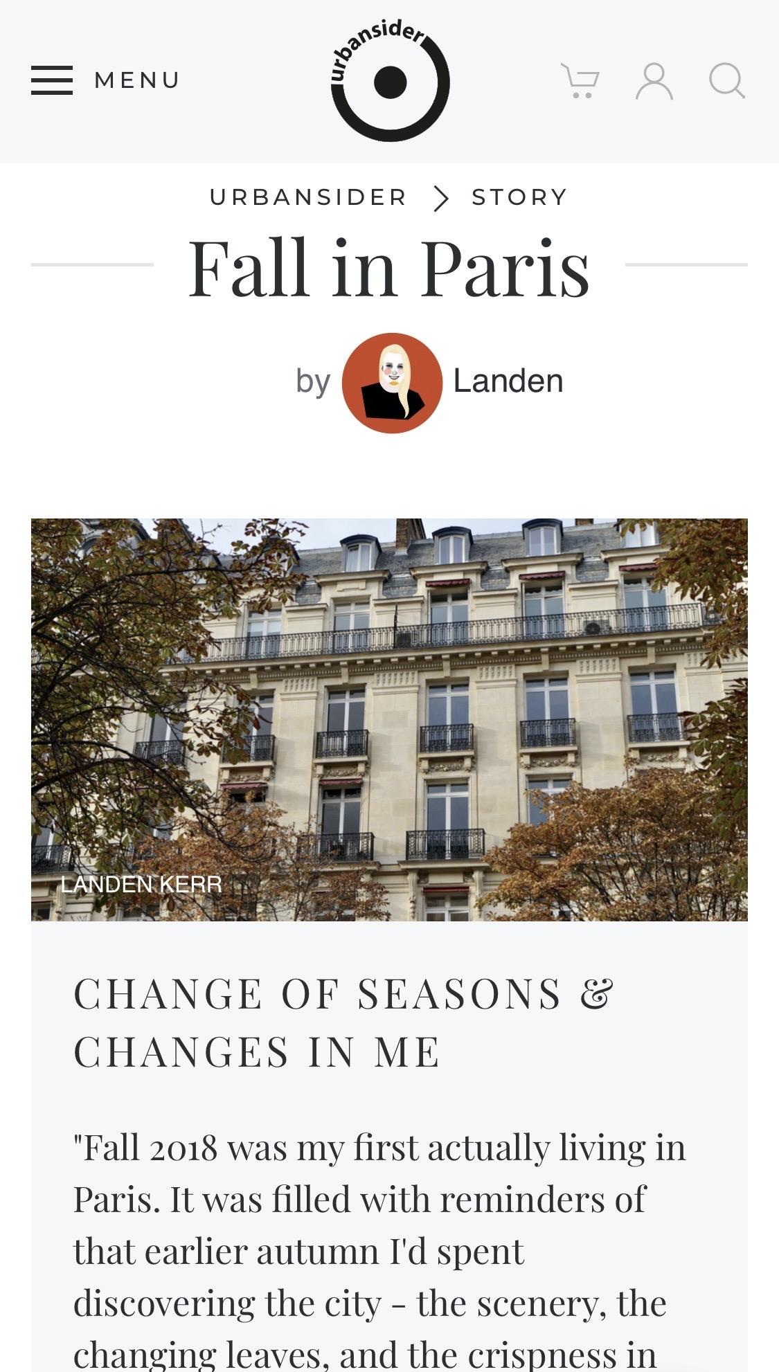 Fall in Paris Urbansider Story