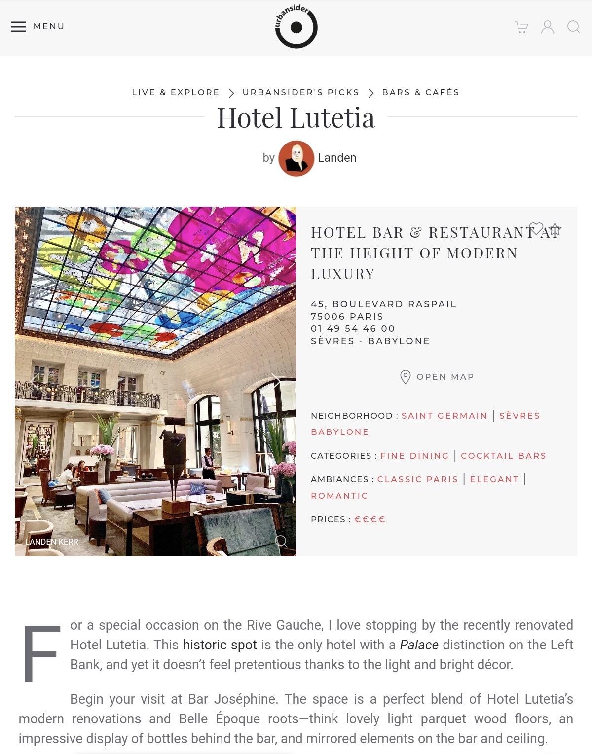 Hotel Lutetia Urbansider Landen Kerr