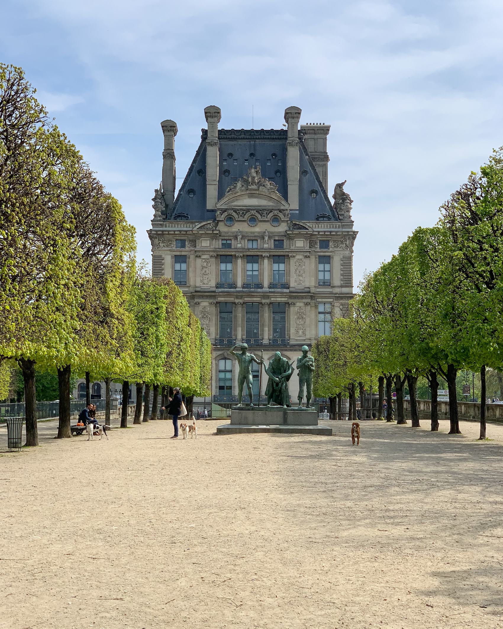 Tuileries Garden in Paris with the Louvre
