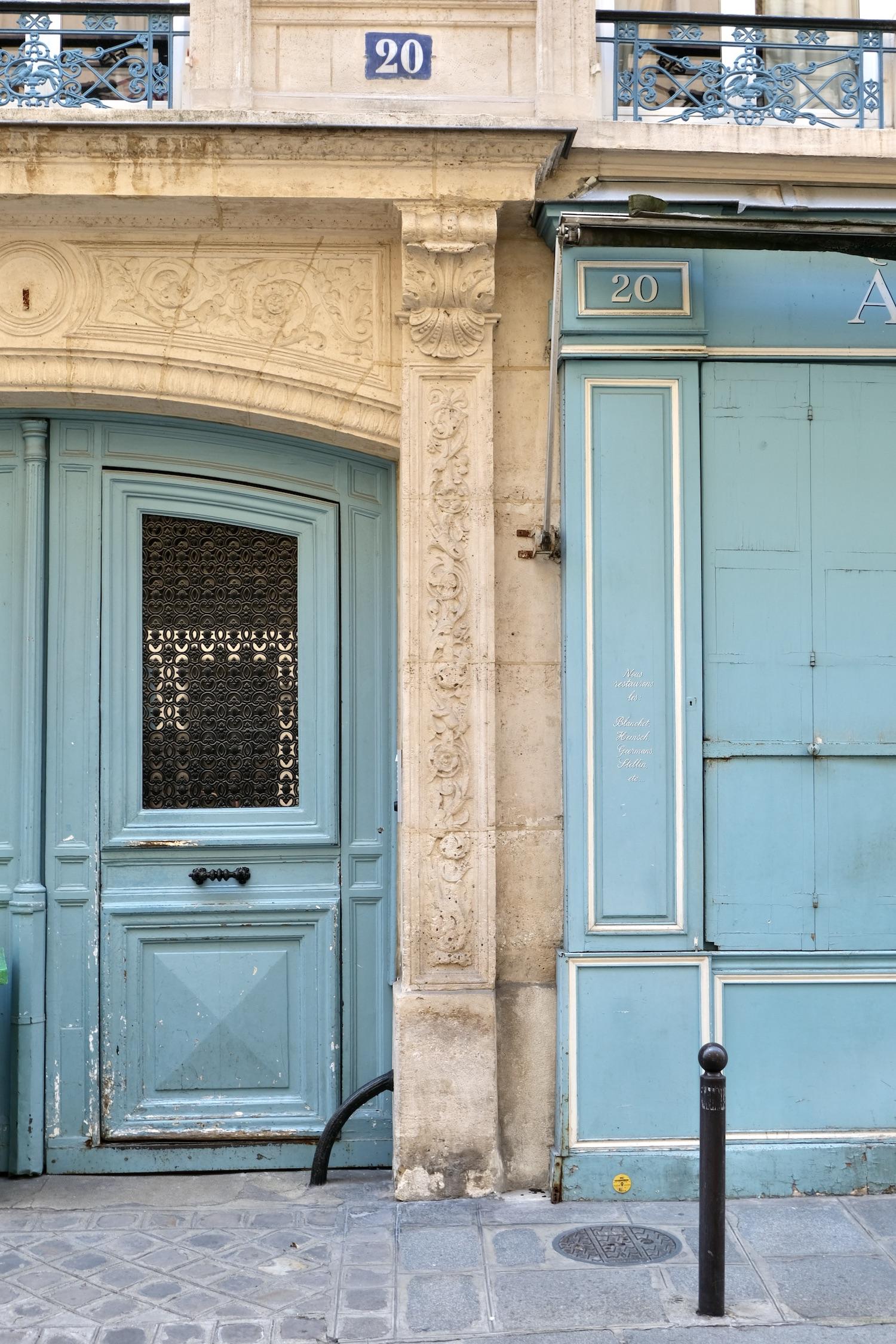 Blue door on the Left Bank in Paris
