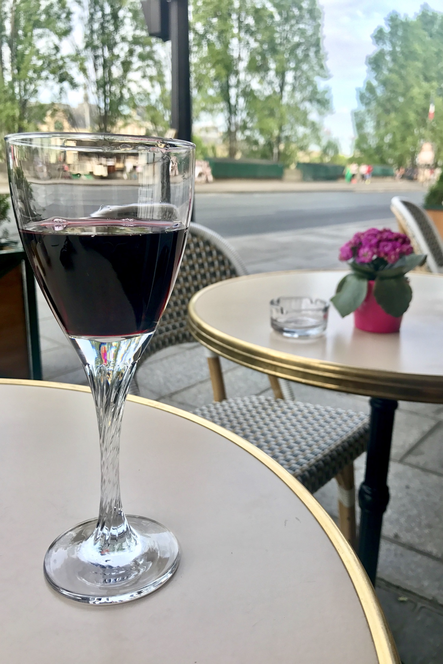 Red wine on the terrasse of Le Voltaire in Paris
