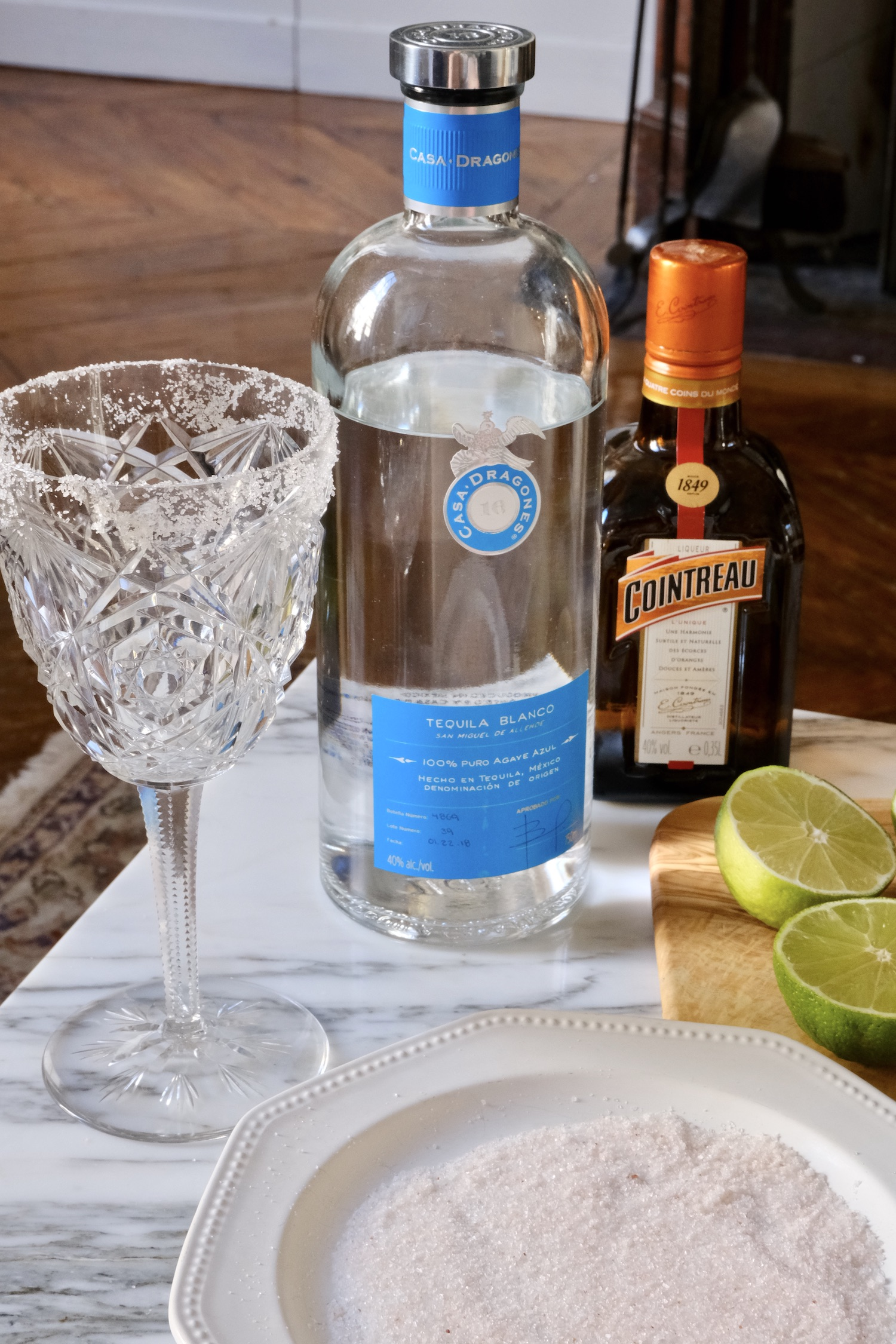 Casa Dragones Margarita with a Baccarat glass from 1937 inspired by Martha Stewart's Martha-ritas recipe