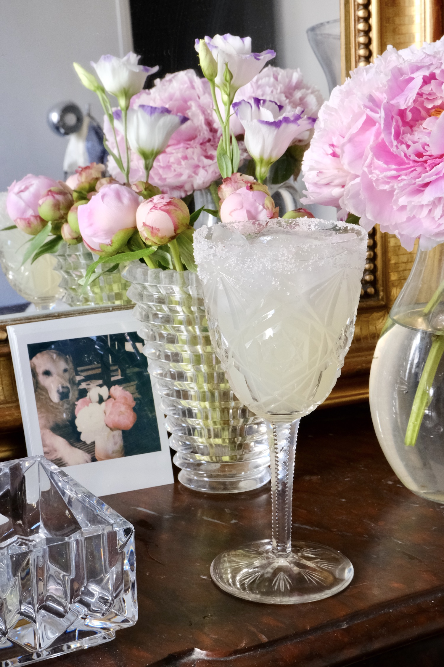 Finished Casa Dragones Margarita in a Baccarat Glass inspired by Martha Stewart's Martha-ritas recipe