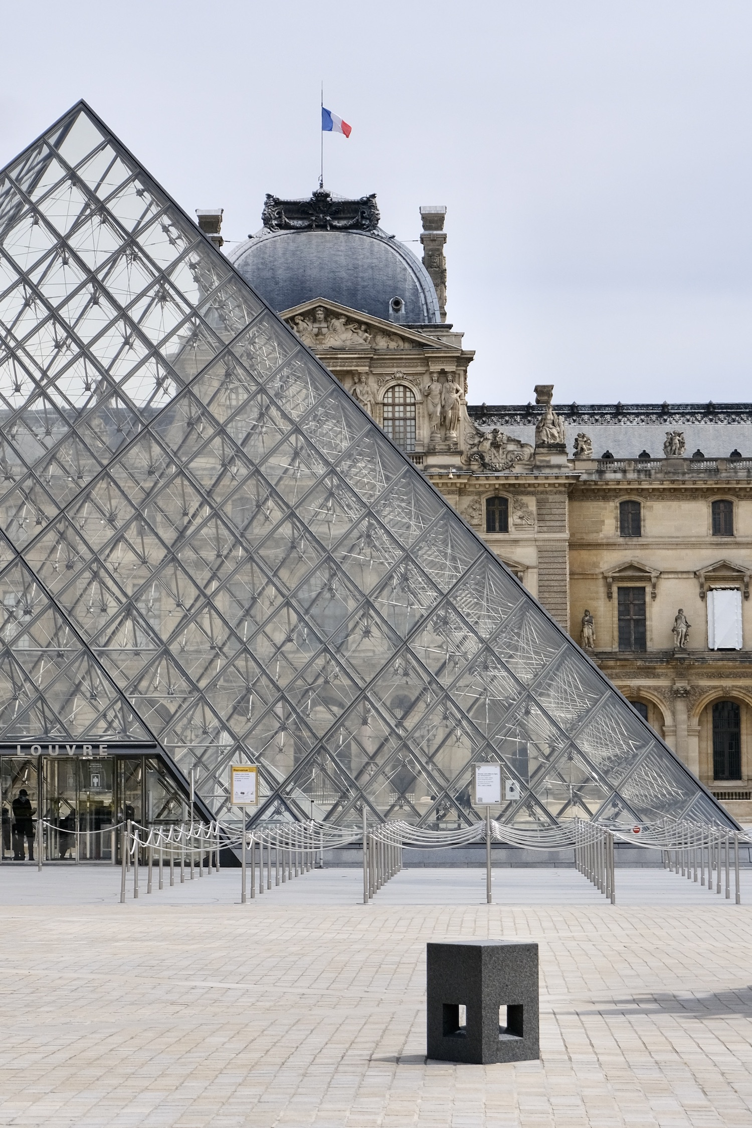 Empty Louvre and Pyramid in Paris