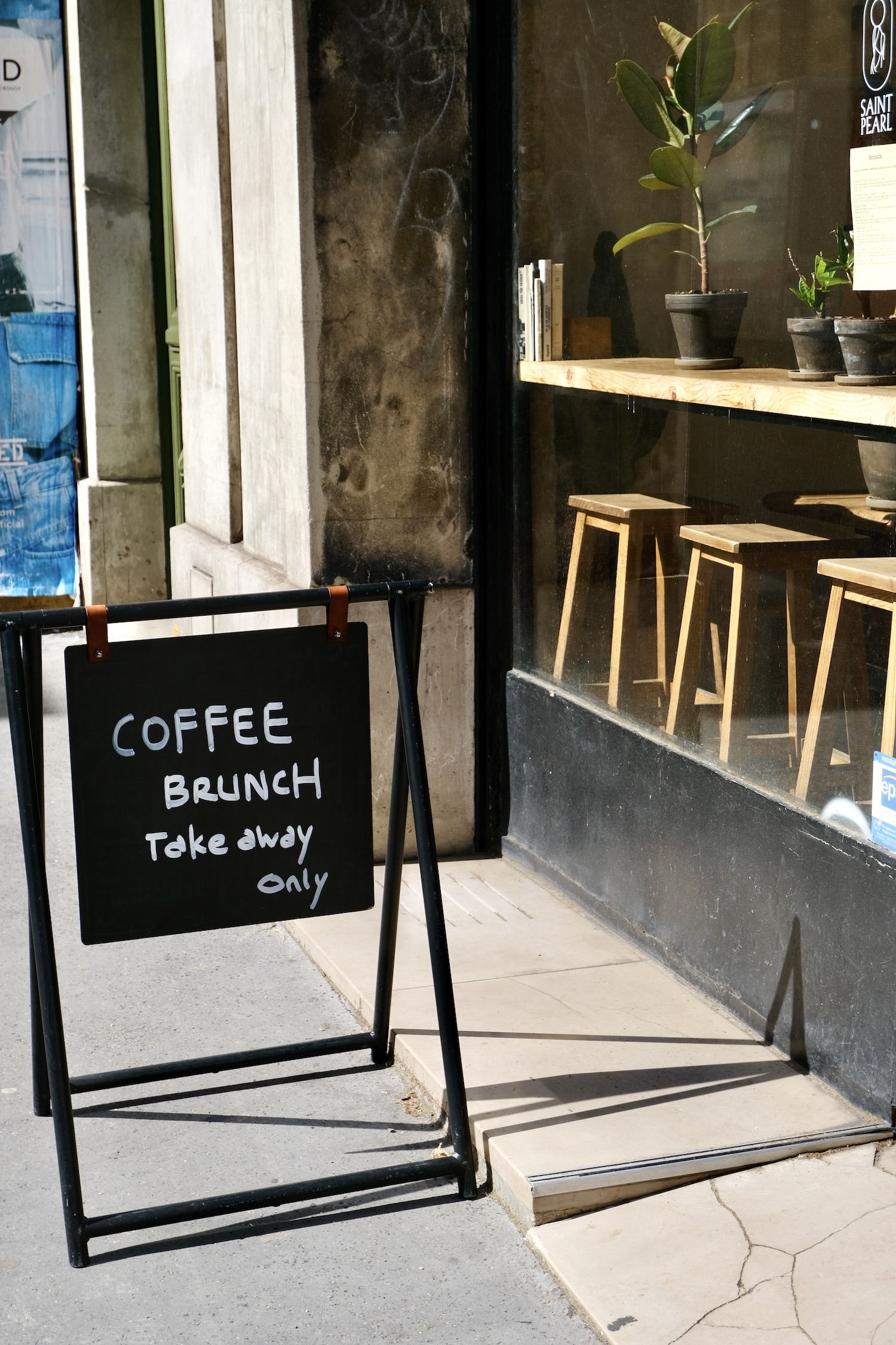 Saint Pearl to-go coffee sign