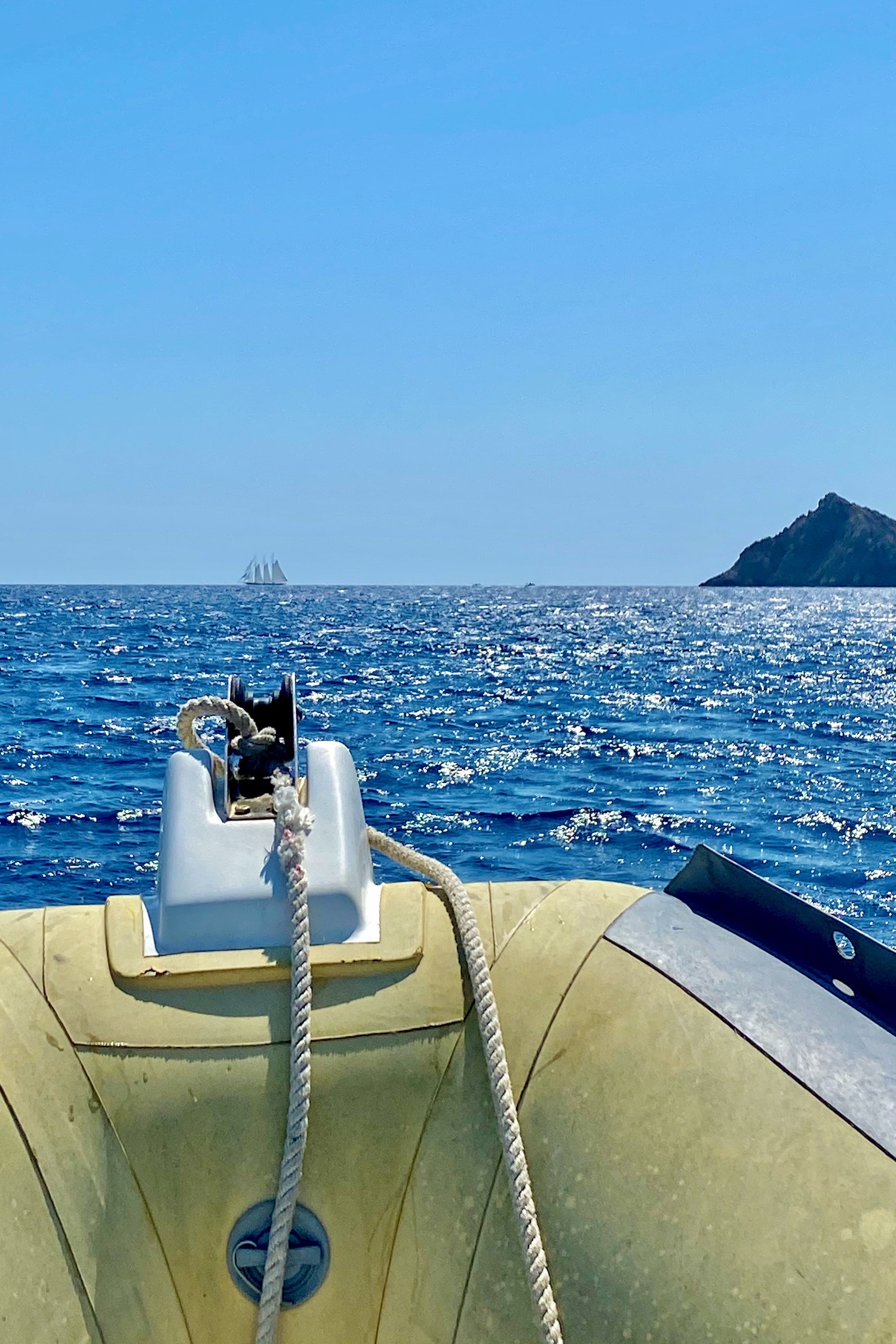 driving a boat on the mediterranean