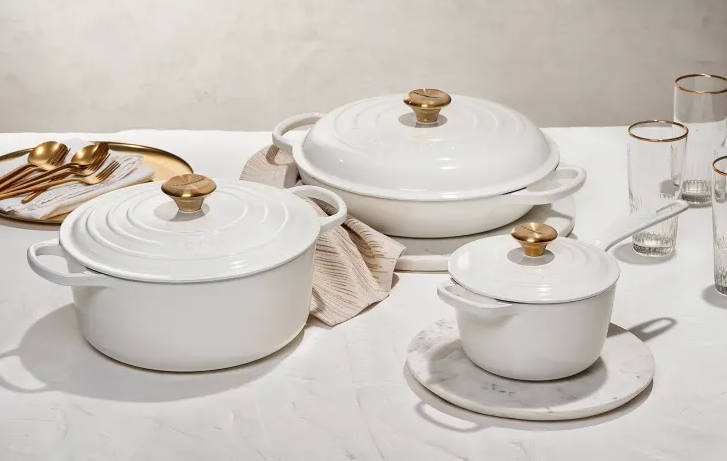 Le Creuset White and Gold collection