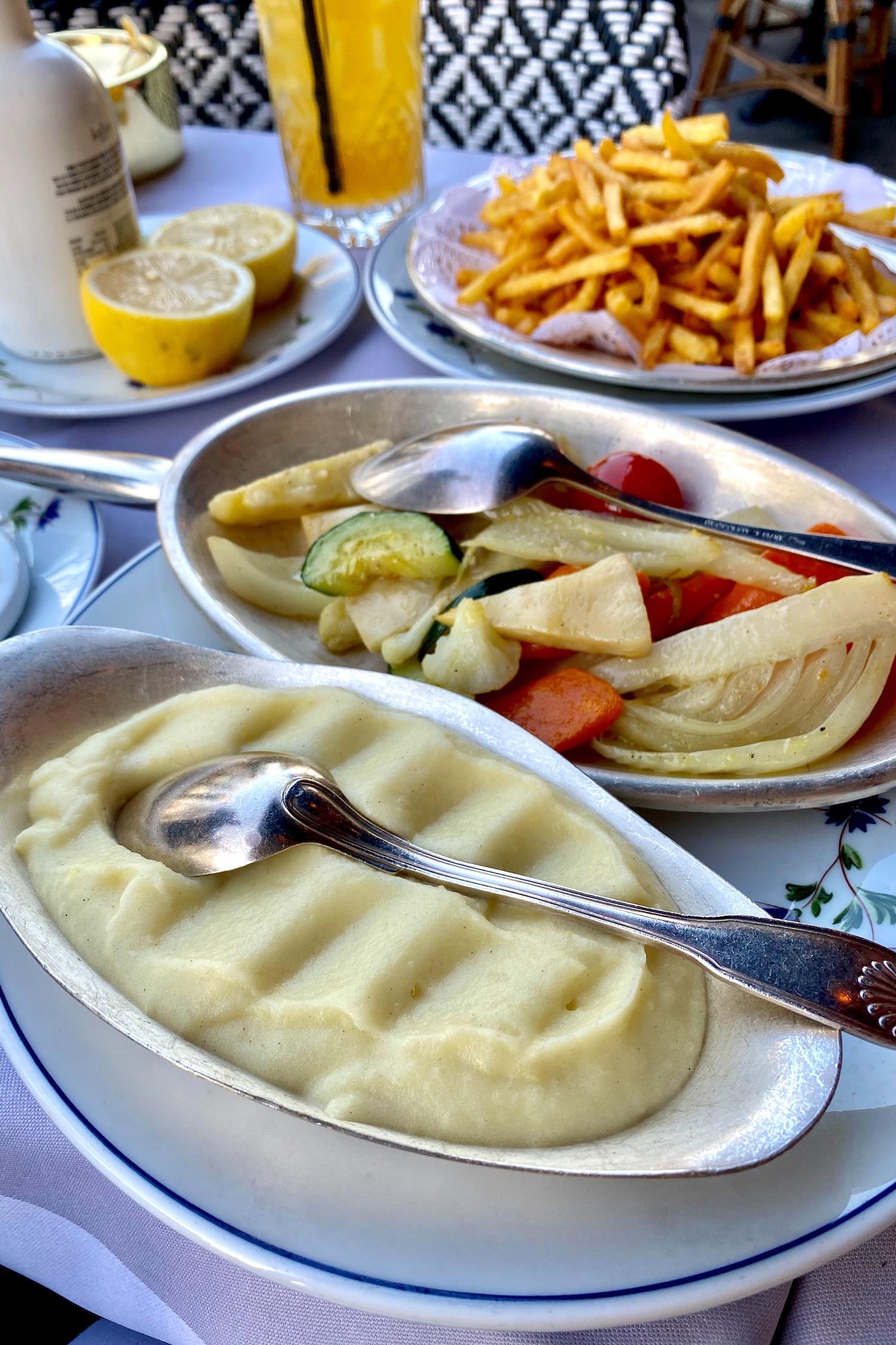 Le Voltaire frites and pomme purée