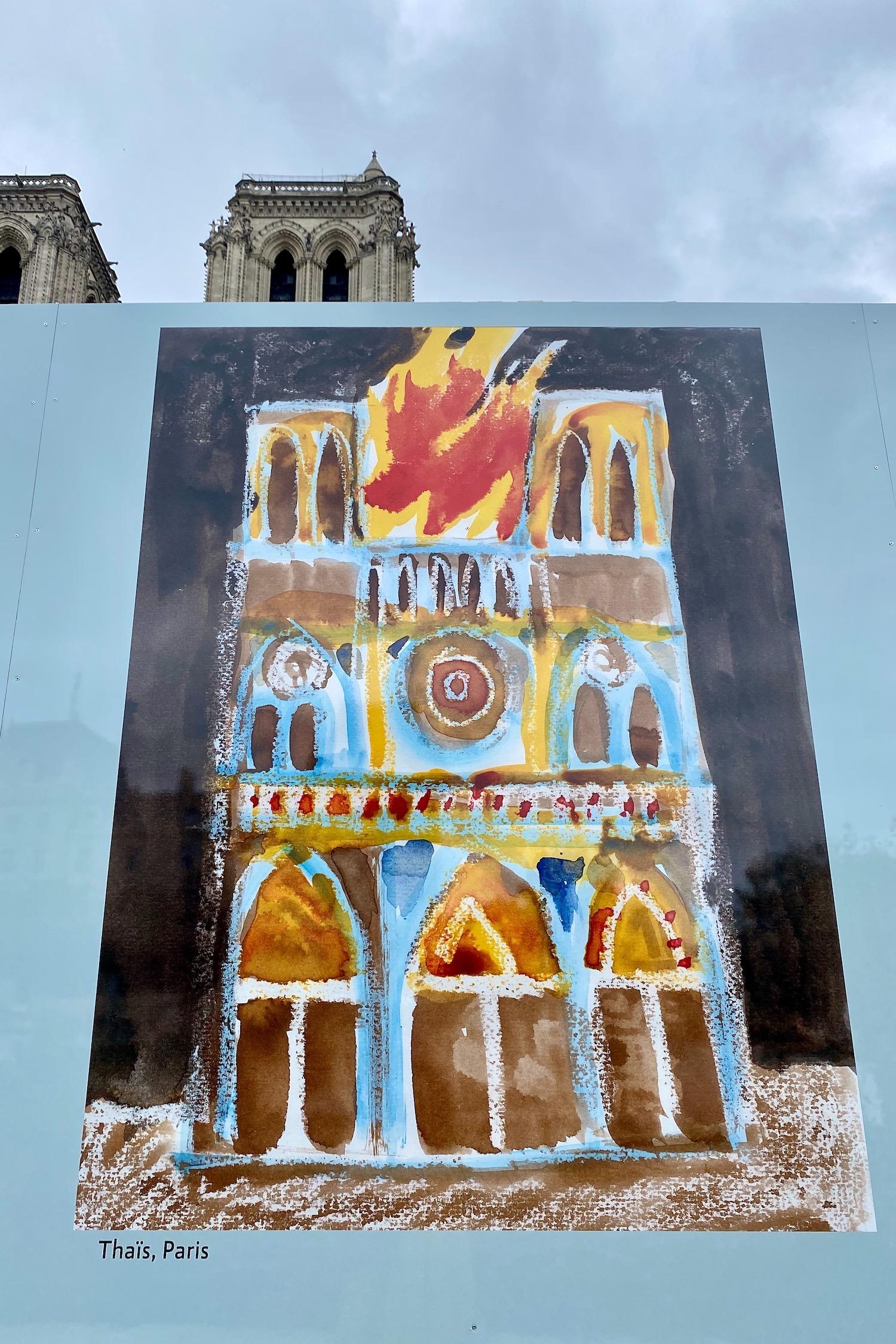 Children's art in front of Notre Dame