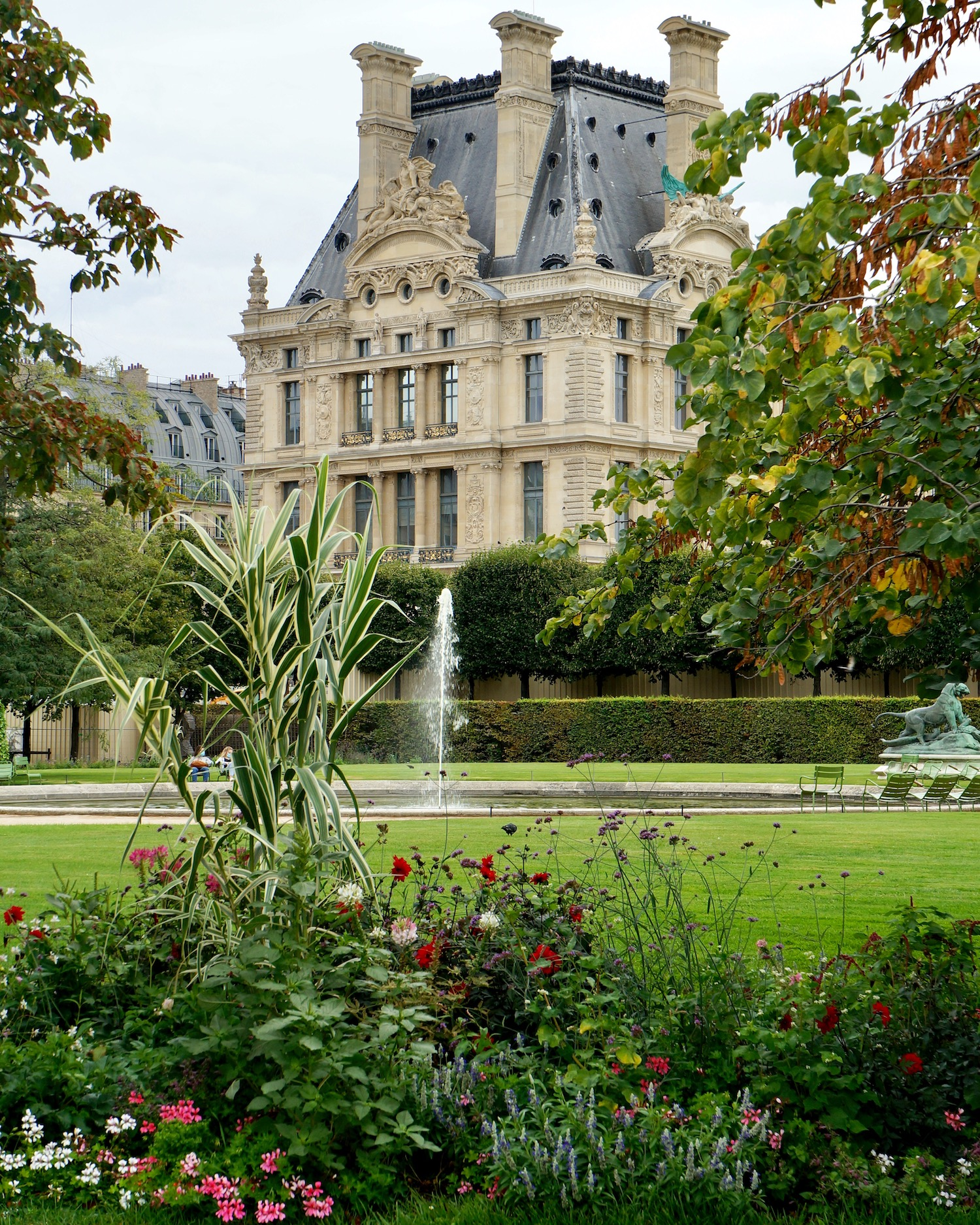 Tuileries red flower beds