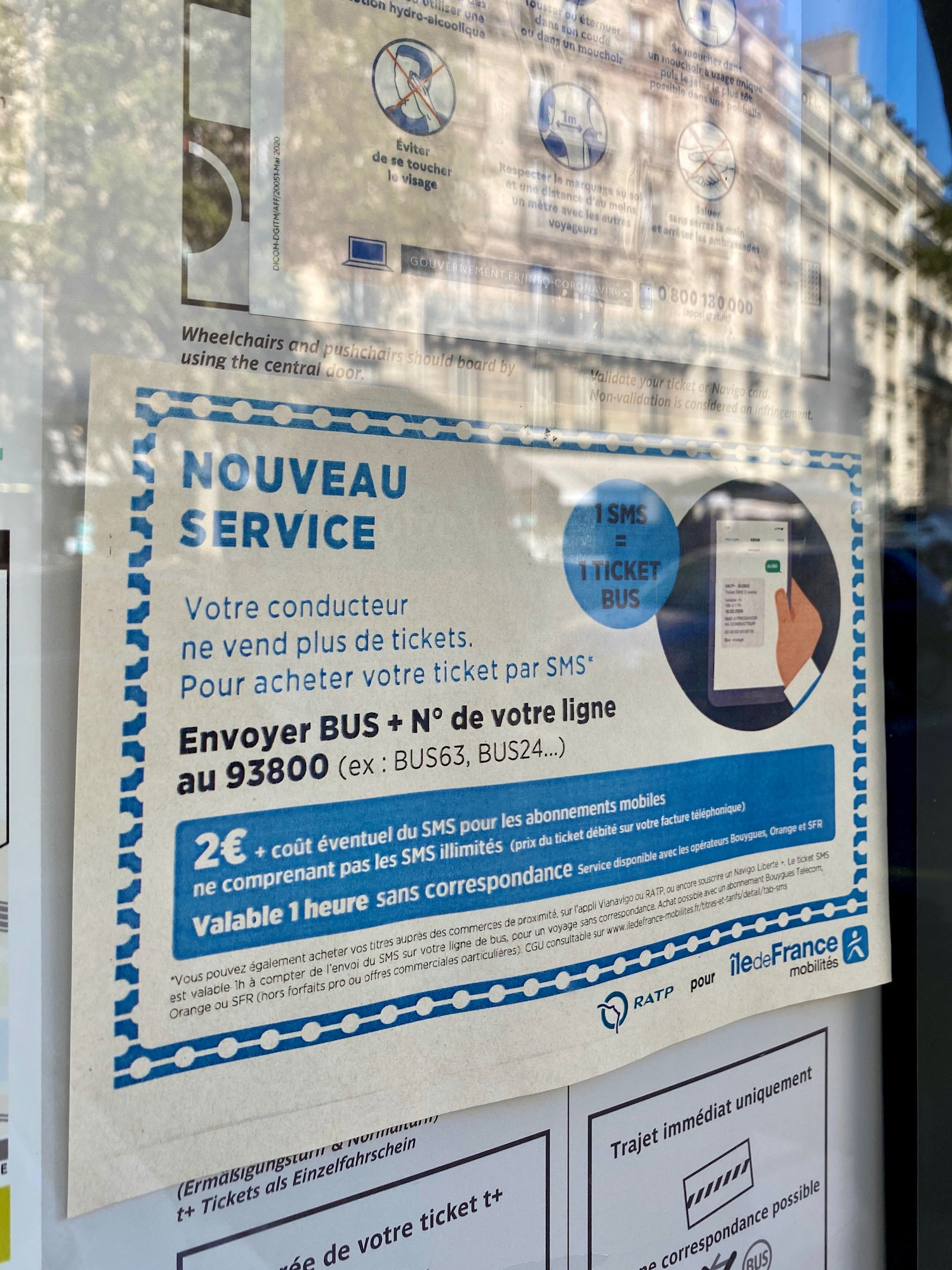 Paris bus tickets by text