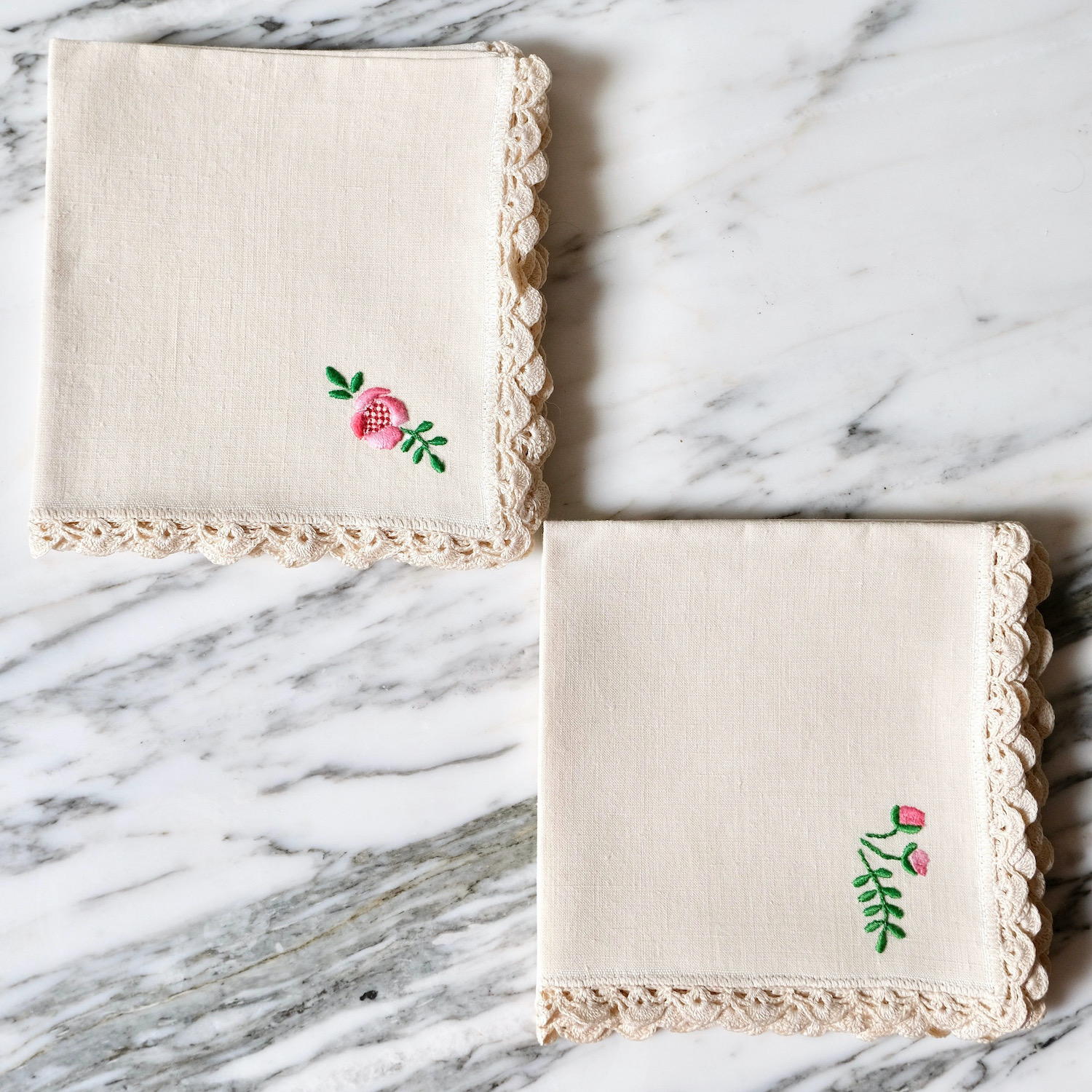 french antique hand-embroidered linen napkins