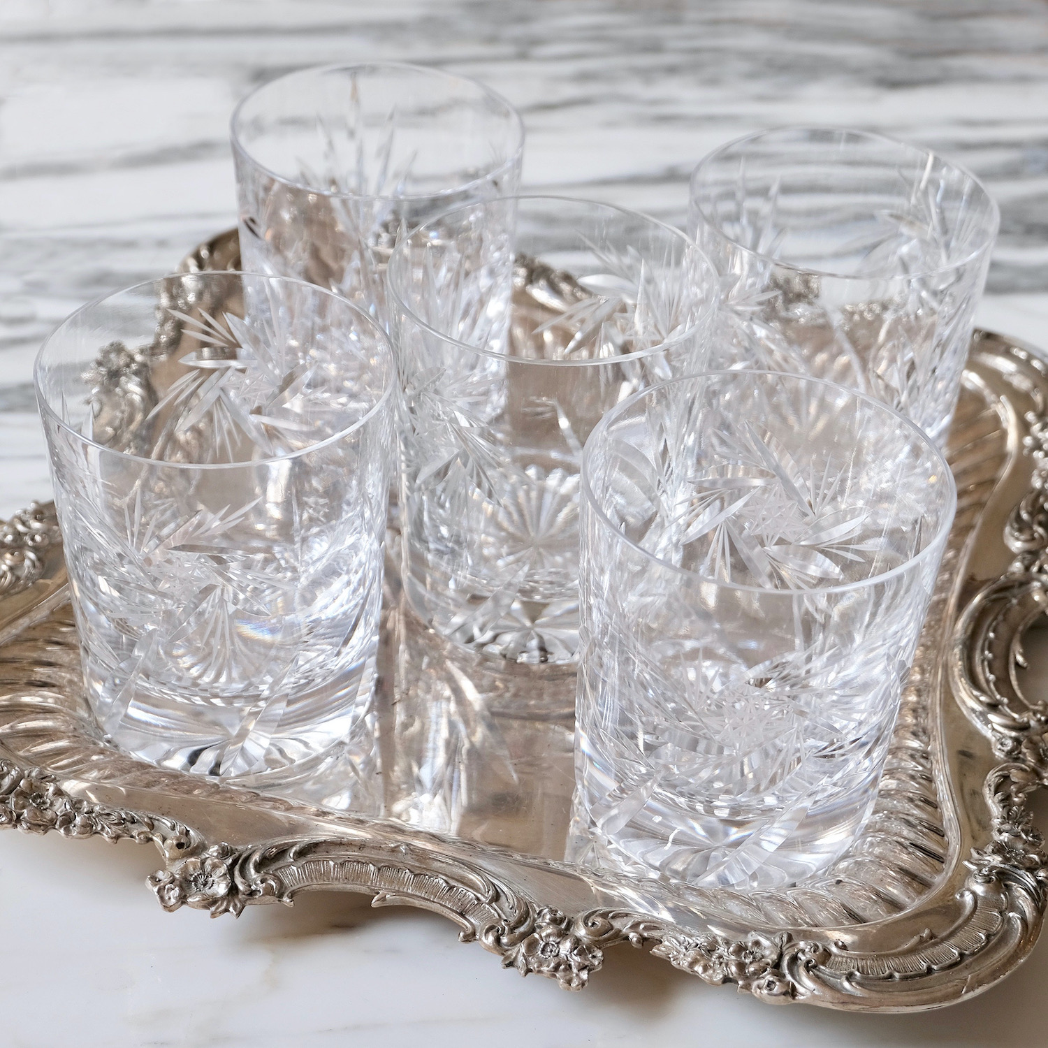 french antique whisky tumblers