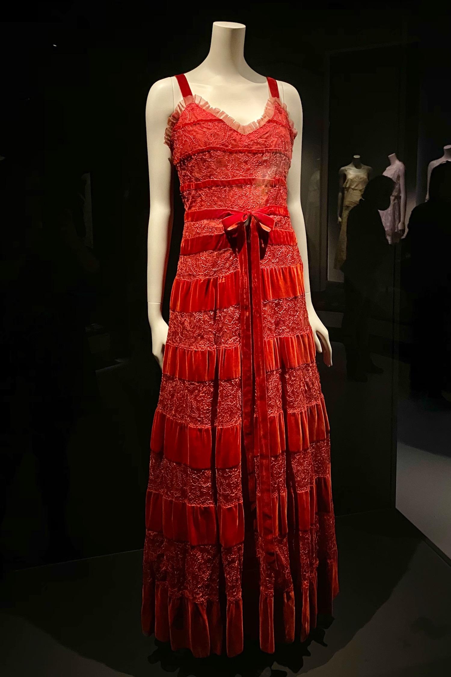 red dress Gabrielle Chanel Fashion Manifesto exhibit