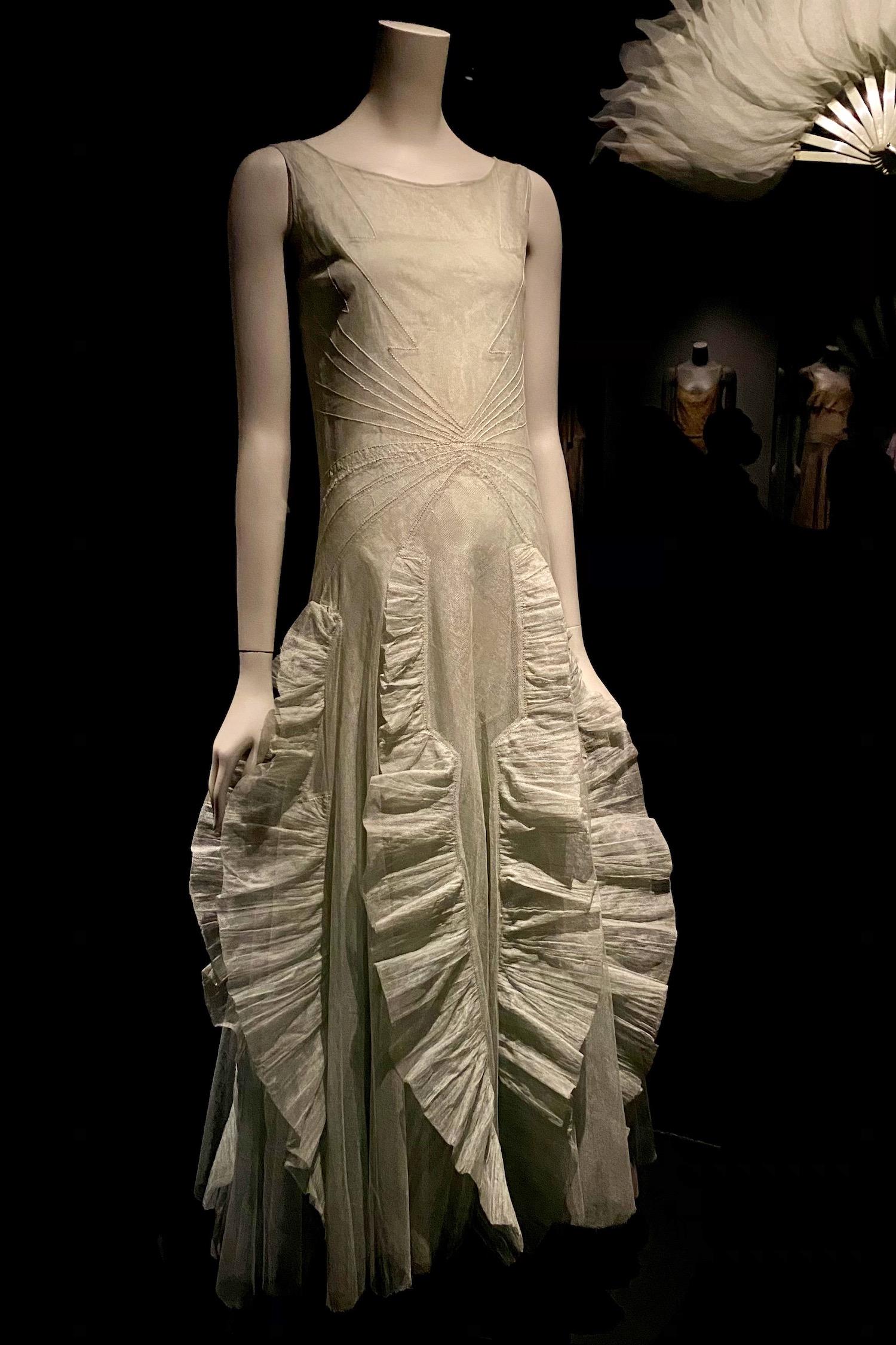 white fan dress