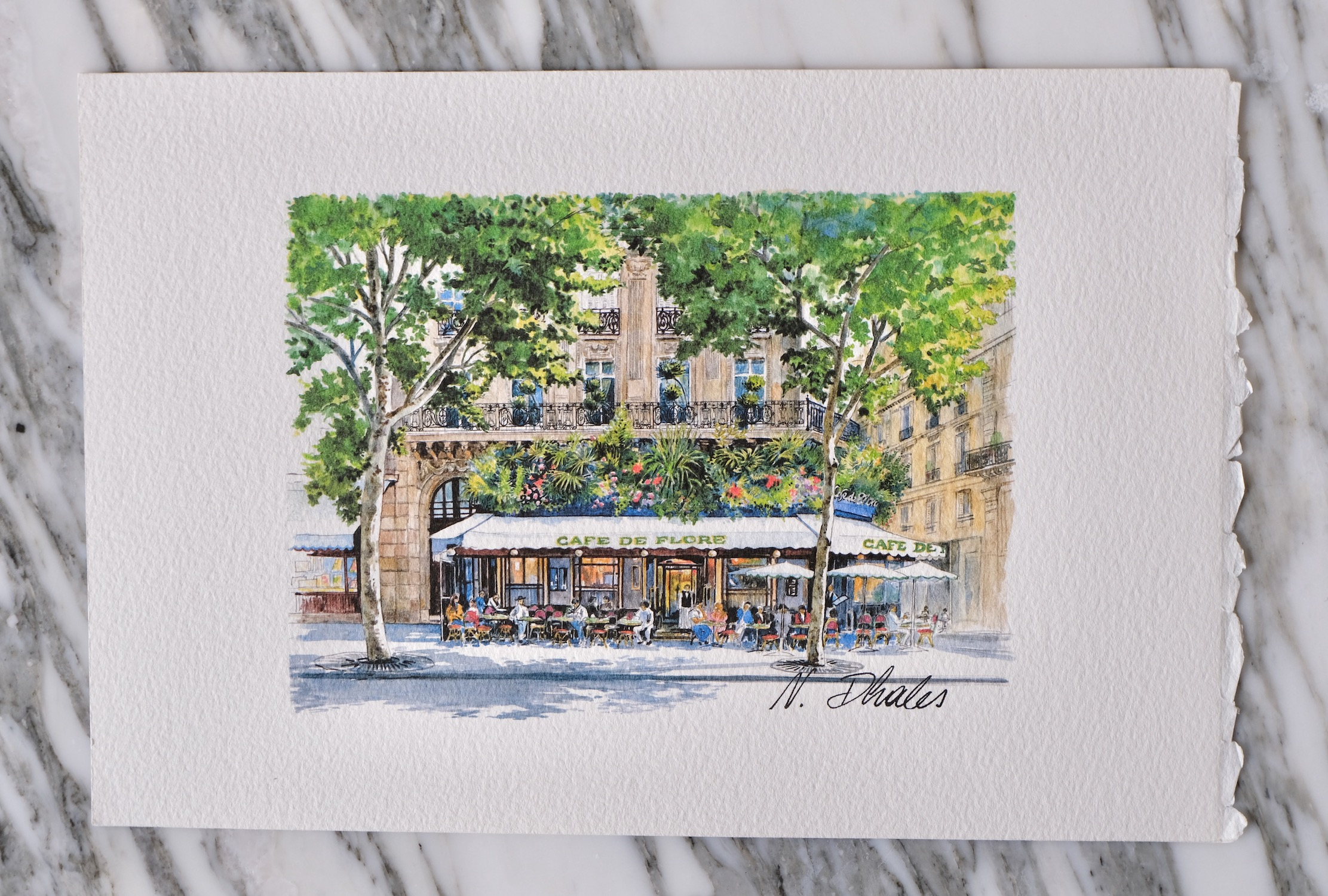 Cafe de Flore watercolor