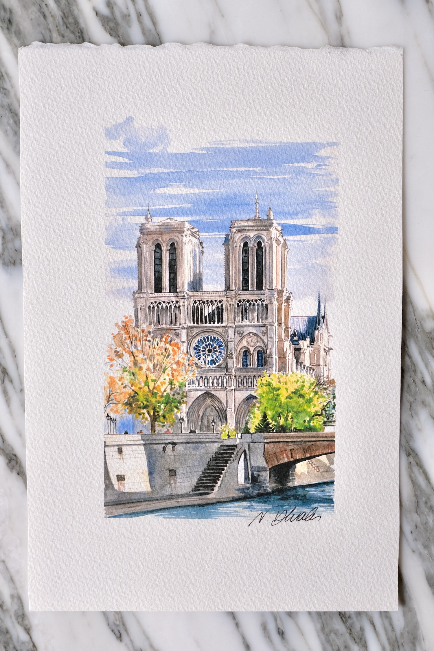 Bouquiniste Collaboration French Face Notre Dame Paris Original Watercolor