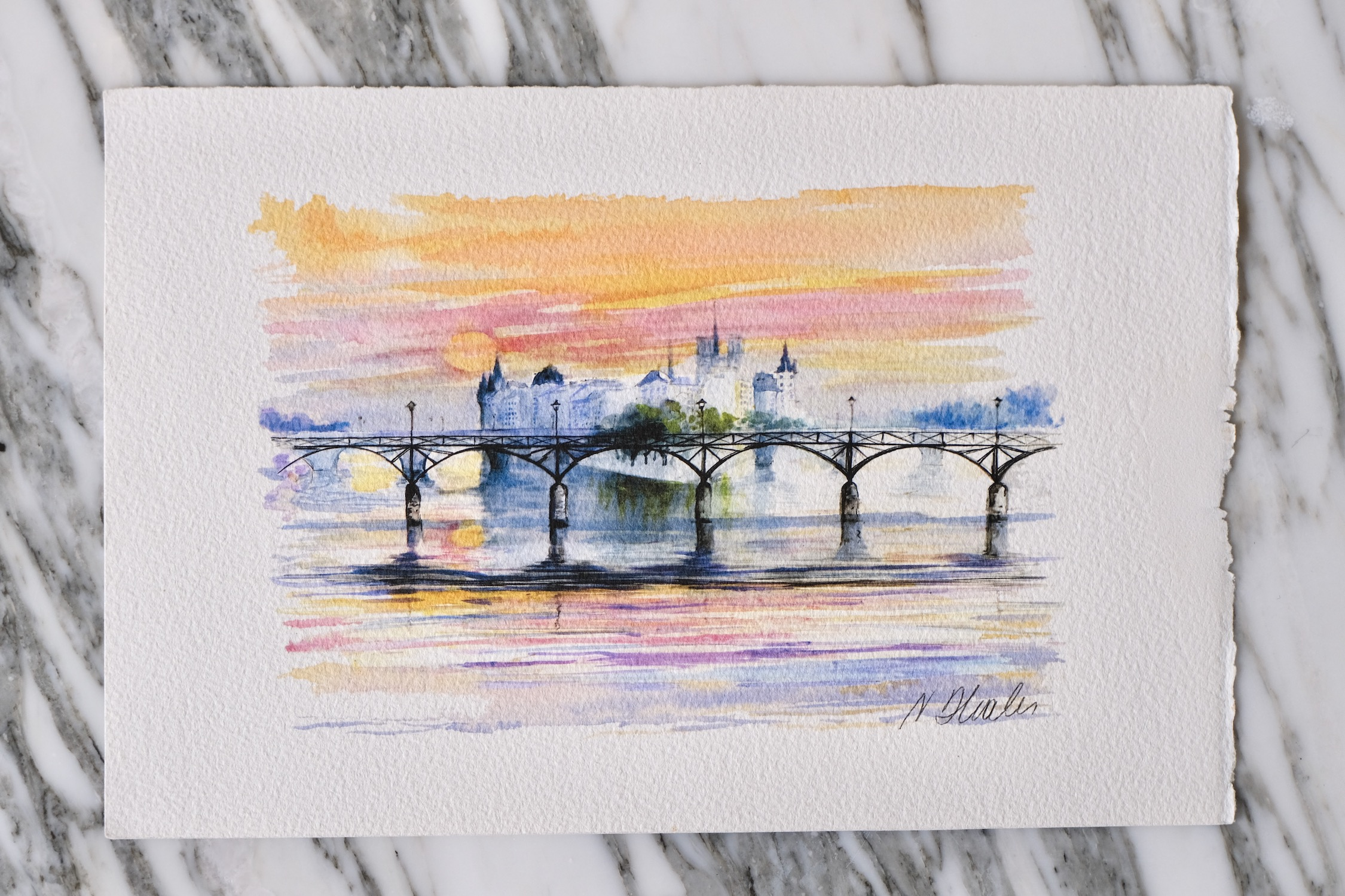 Original watercolor Pont des Arts sunrise