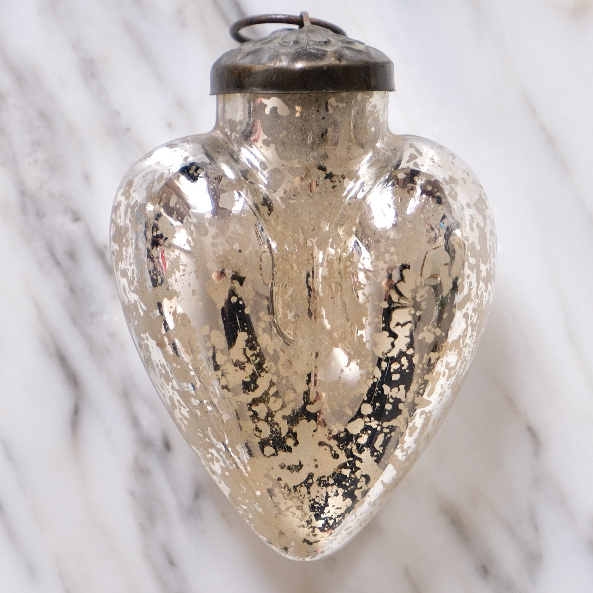 silver heart mercury glass french christmas ornament