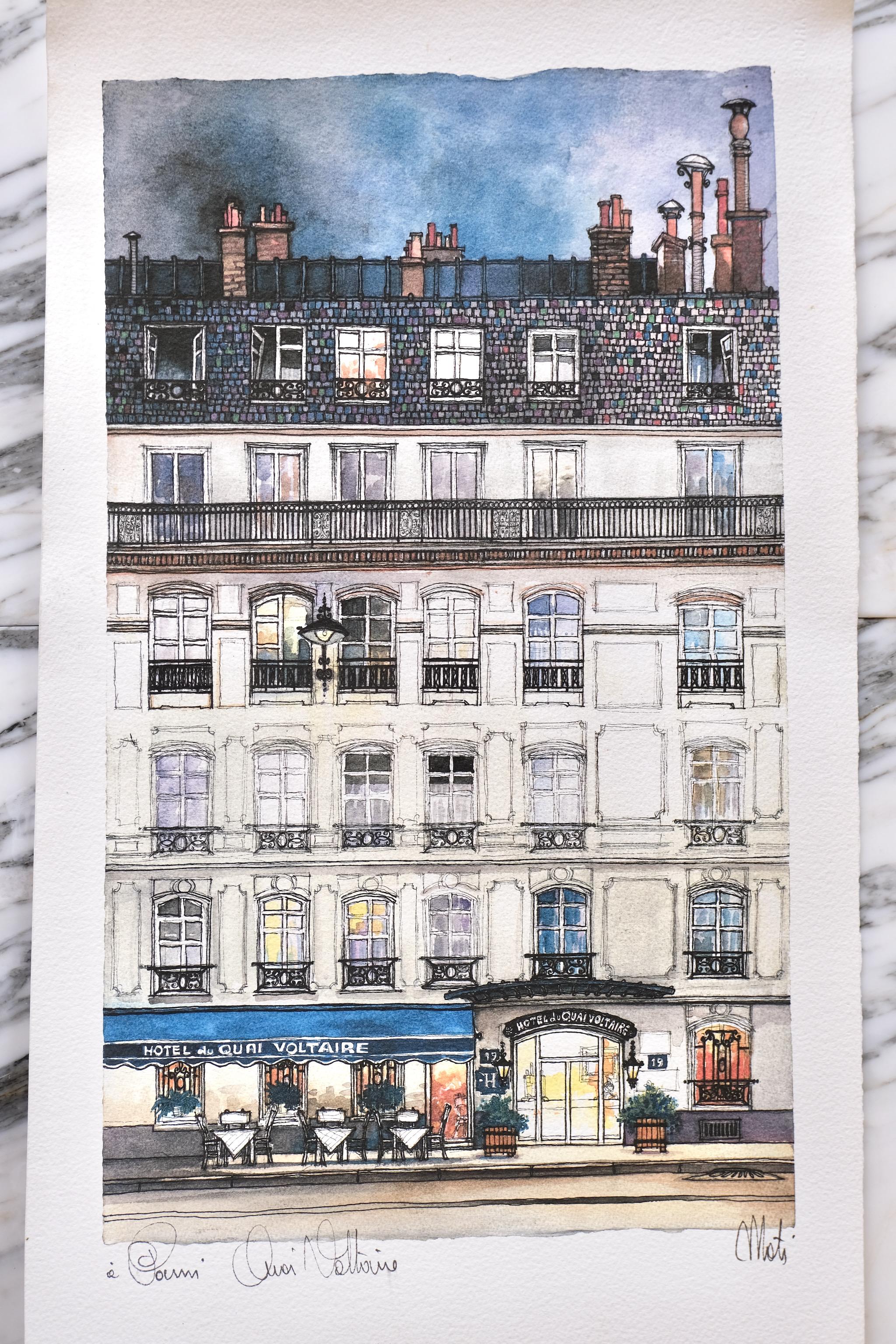 Hotel du Quai Voltaire Mati watercolor