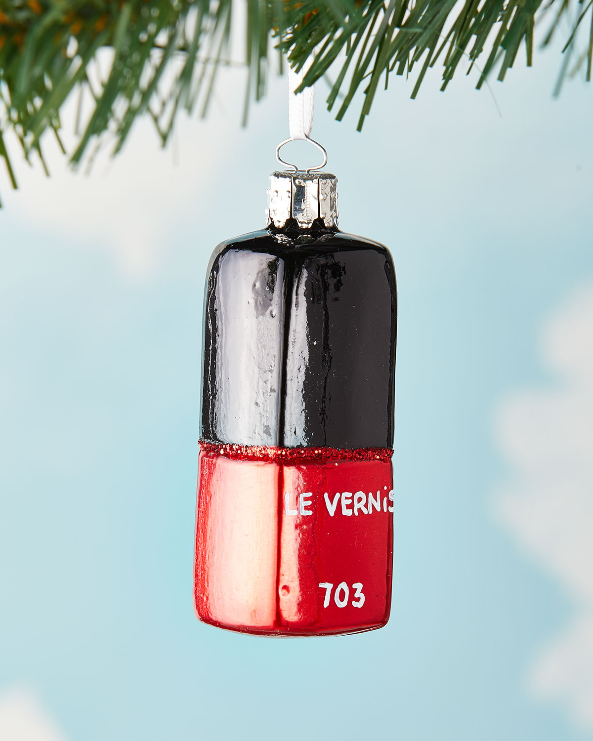 red nail polish french christmas ornament