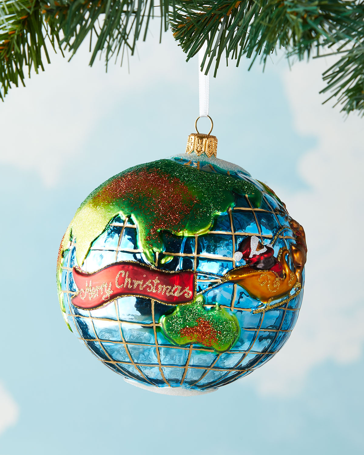 santa globe christmas ornament