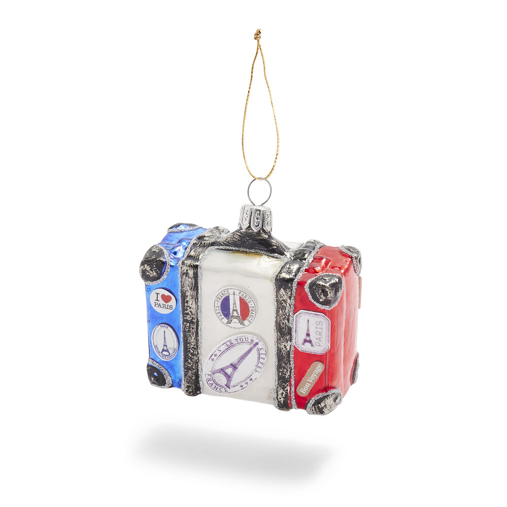 suitcase with stickers French christmas ornaments