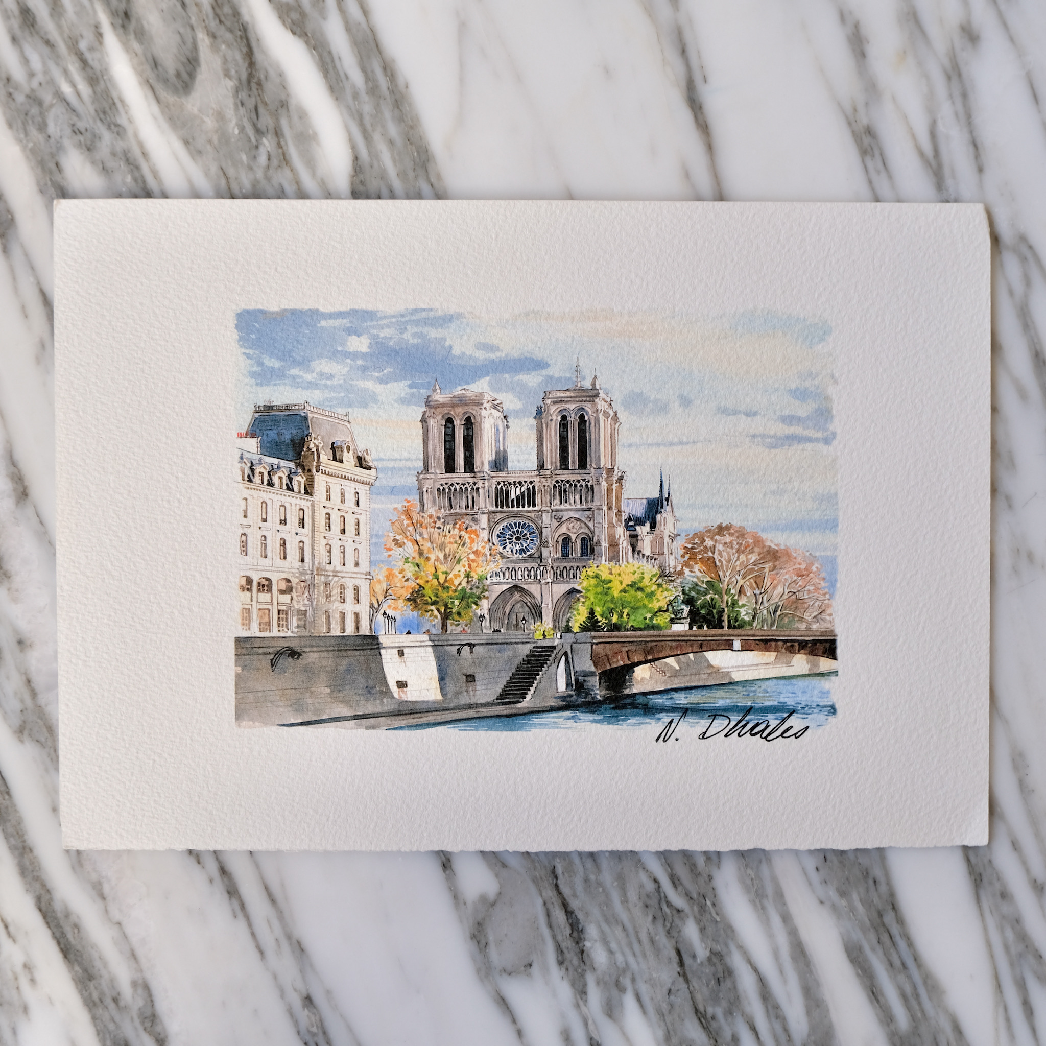 second bouquinistes auction Original Notre Dame During the Fall (Landscape) Watercolor by Nikolla Dhales