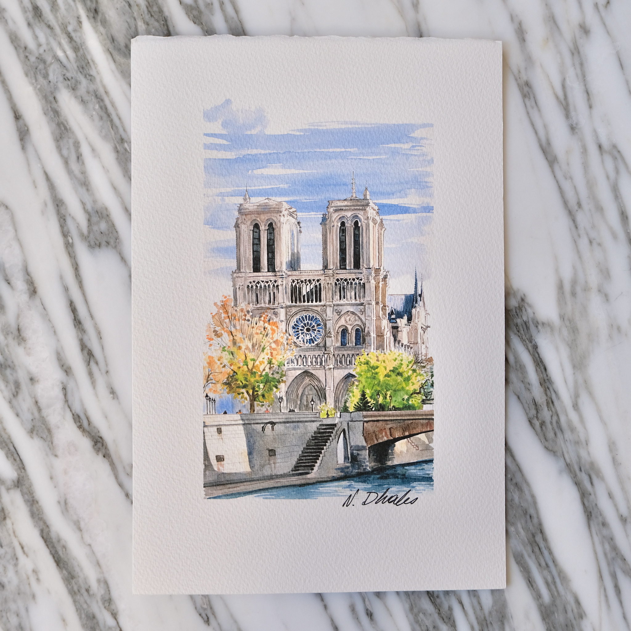 second bouquinistes auction Original Notre Dame During the Fall (Portrait) Watercolor by Nikolla Dhales
