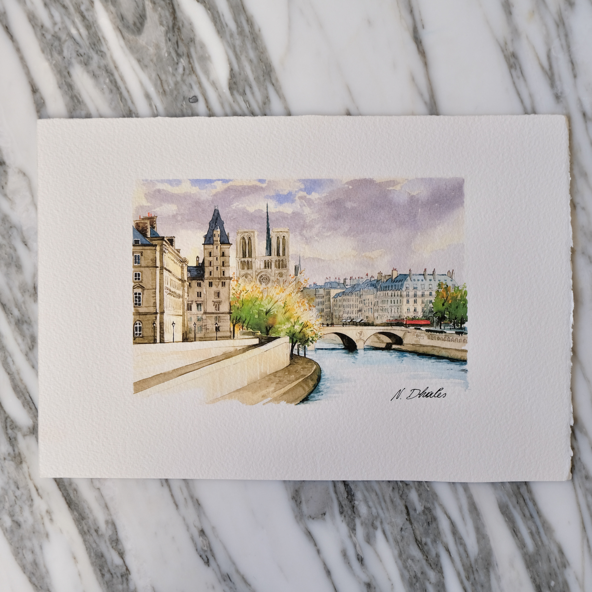 second bouquinistes auction Original Notre Dame and Saint-Michel Watercolor by Nikolla Dhales