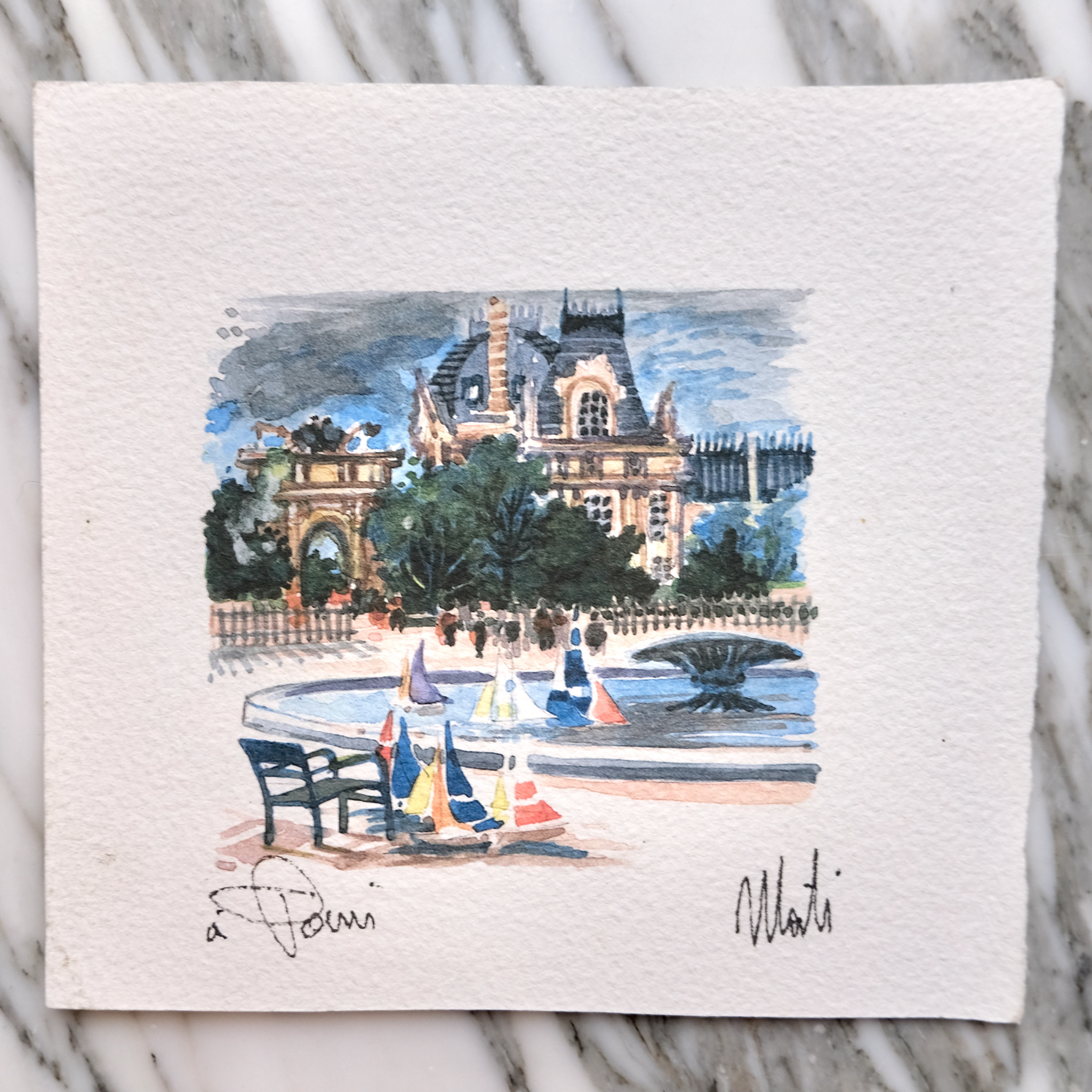 second bouquinistes auction Miniature Tuileries Original Watercolor by Mati