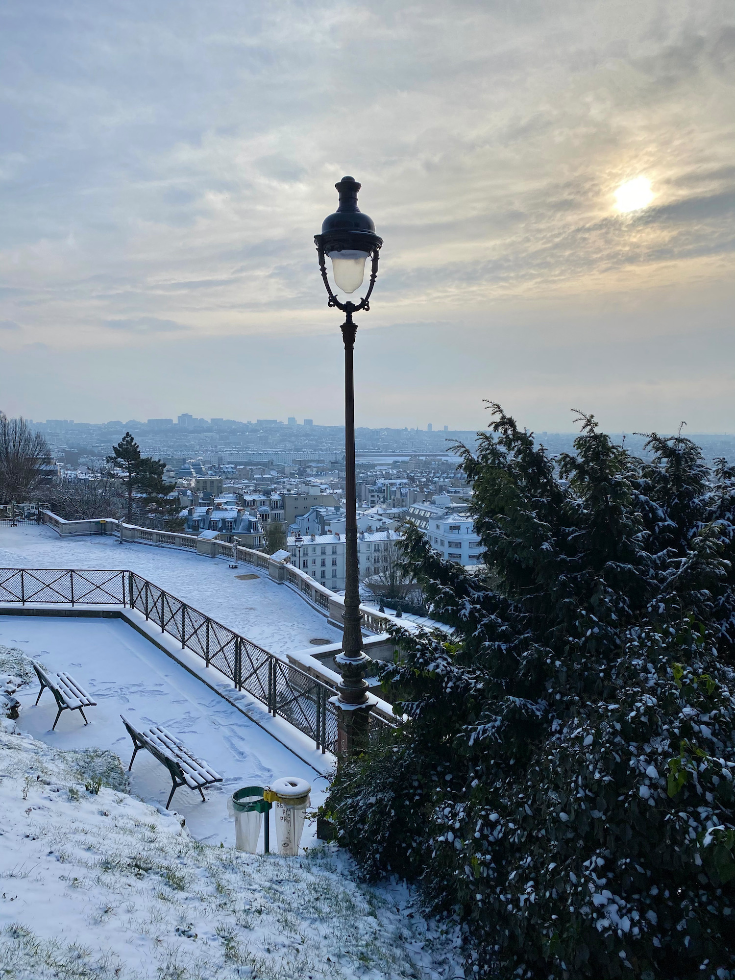 view from montmartre in the snow