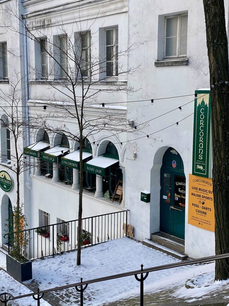 snowy bar in montmartre