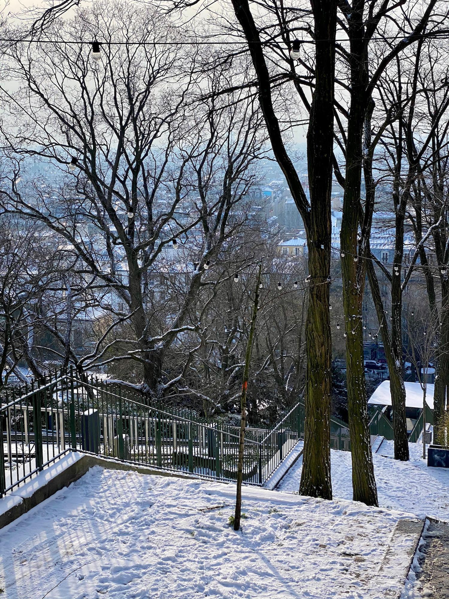 snowy steps montmartre