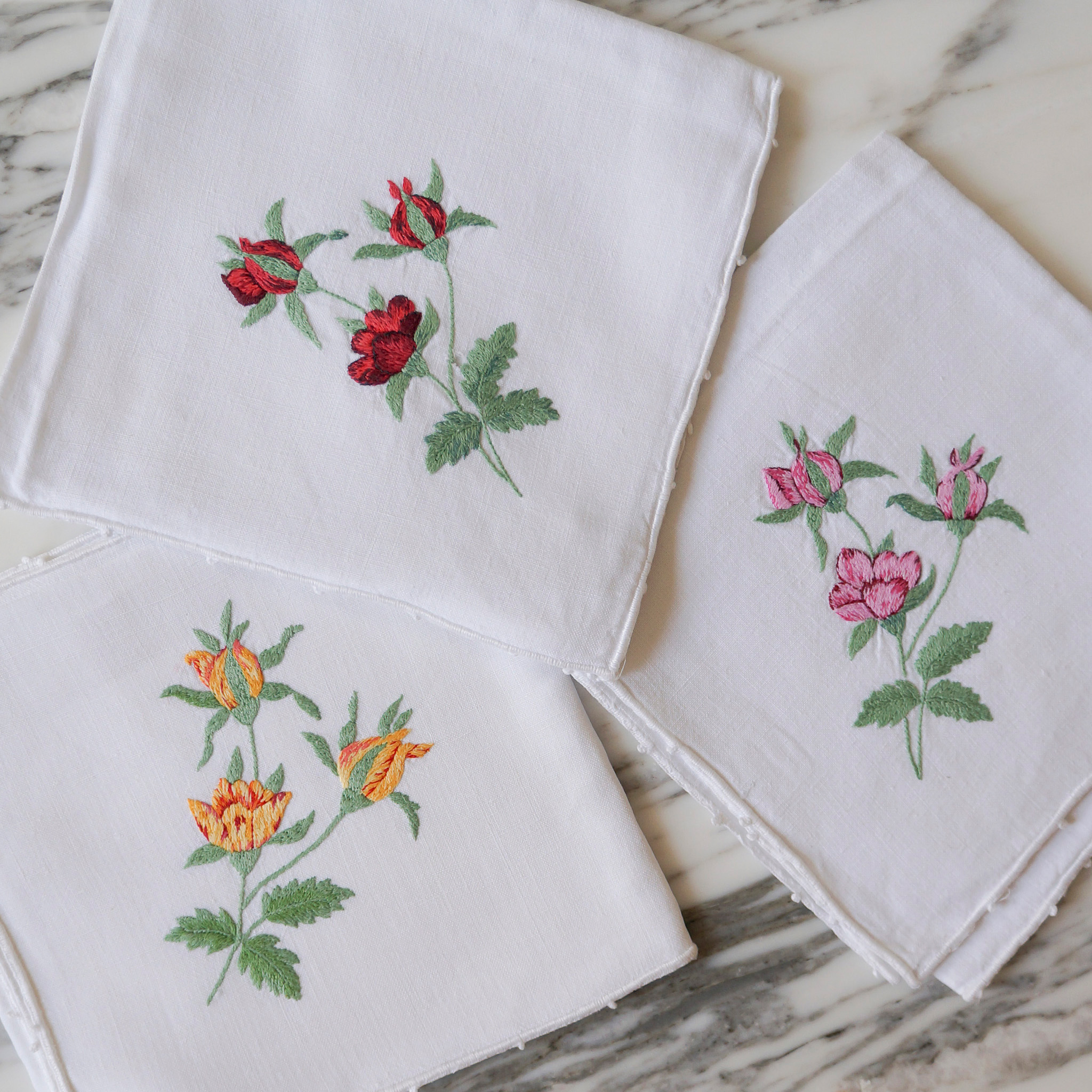 french hand-embroidered floral napkins
