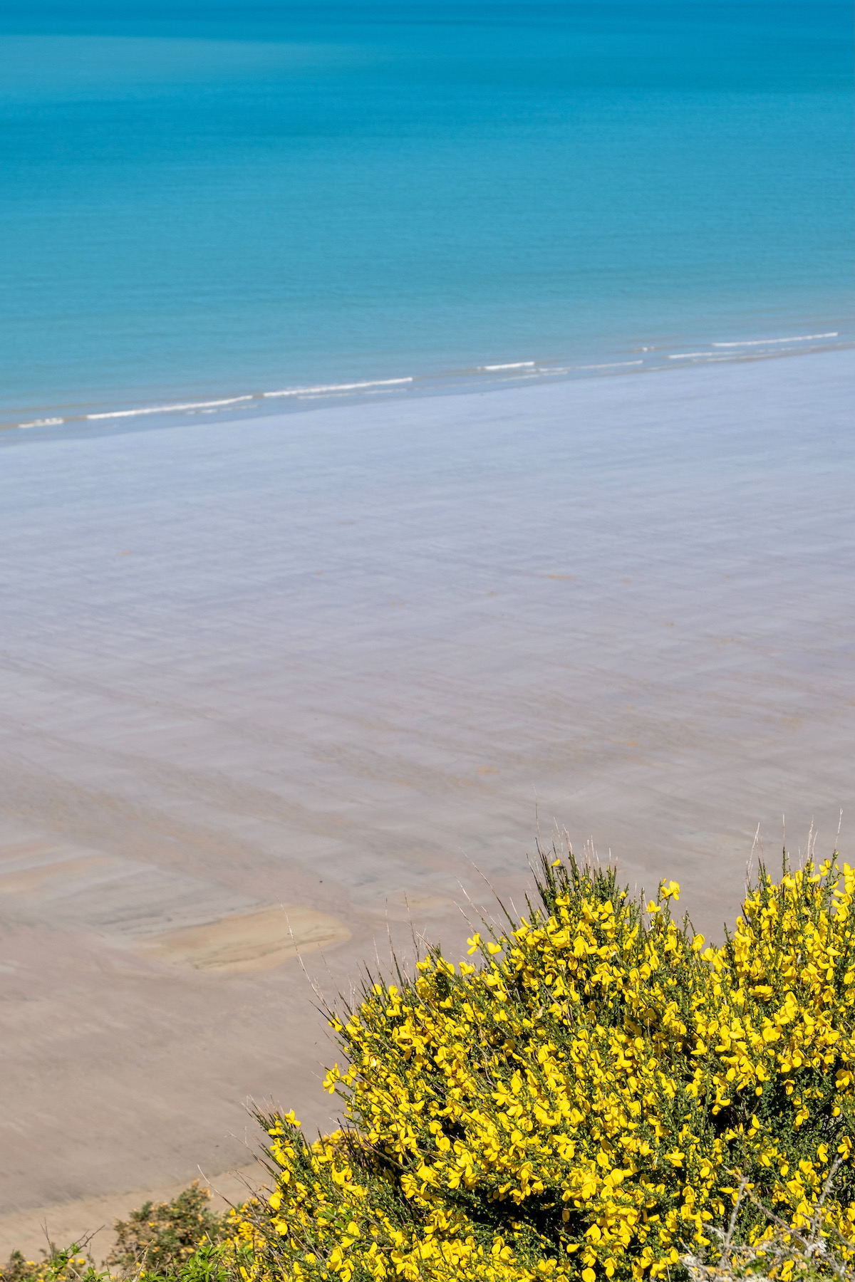 view of the white sandy beach in carolles, normandy