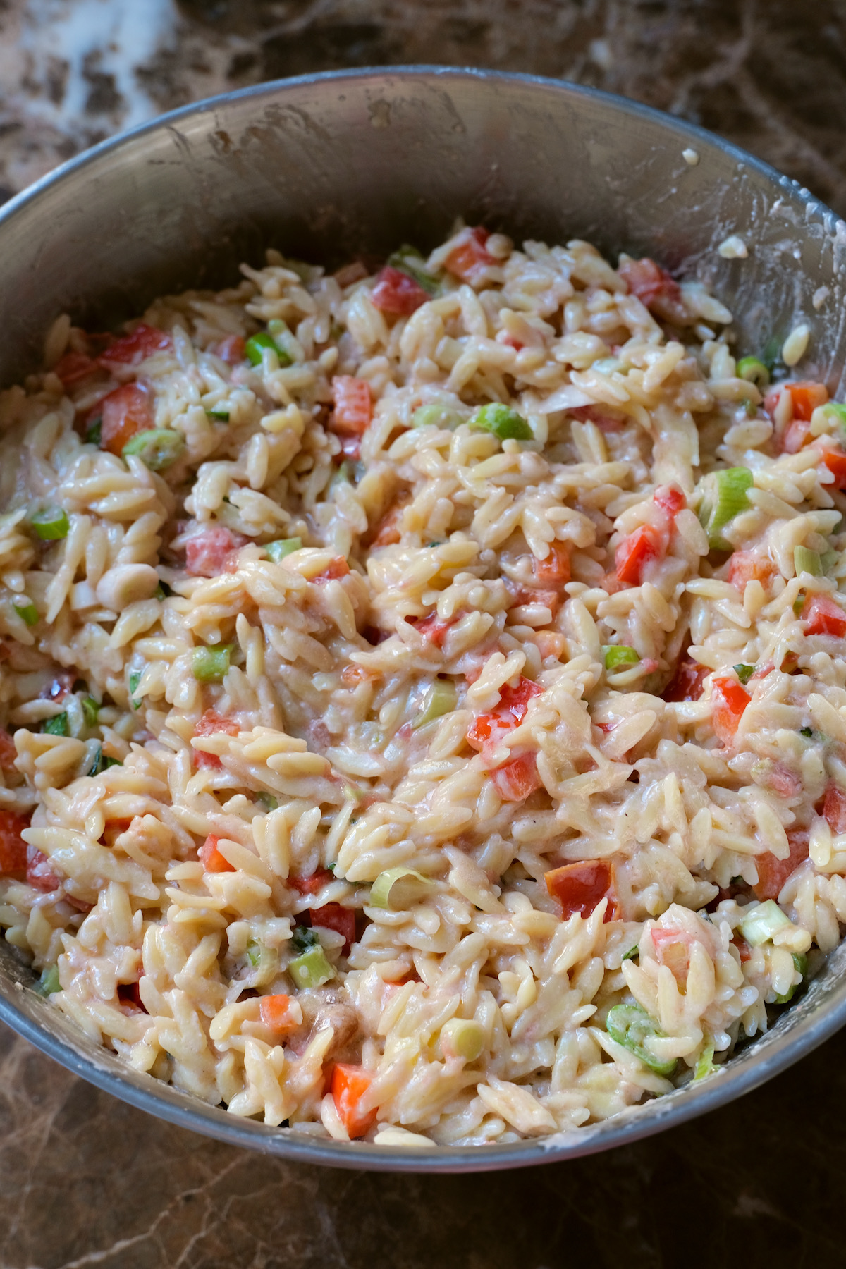 orzo salad with goat cheese mixture