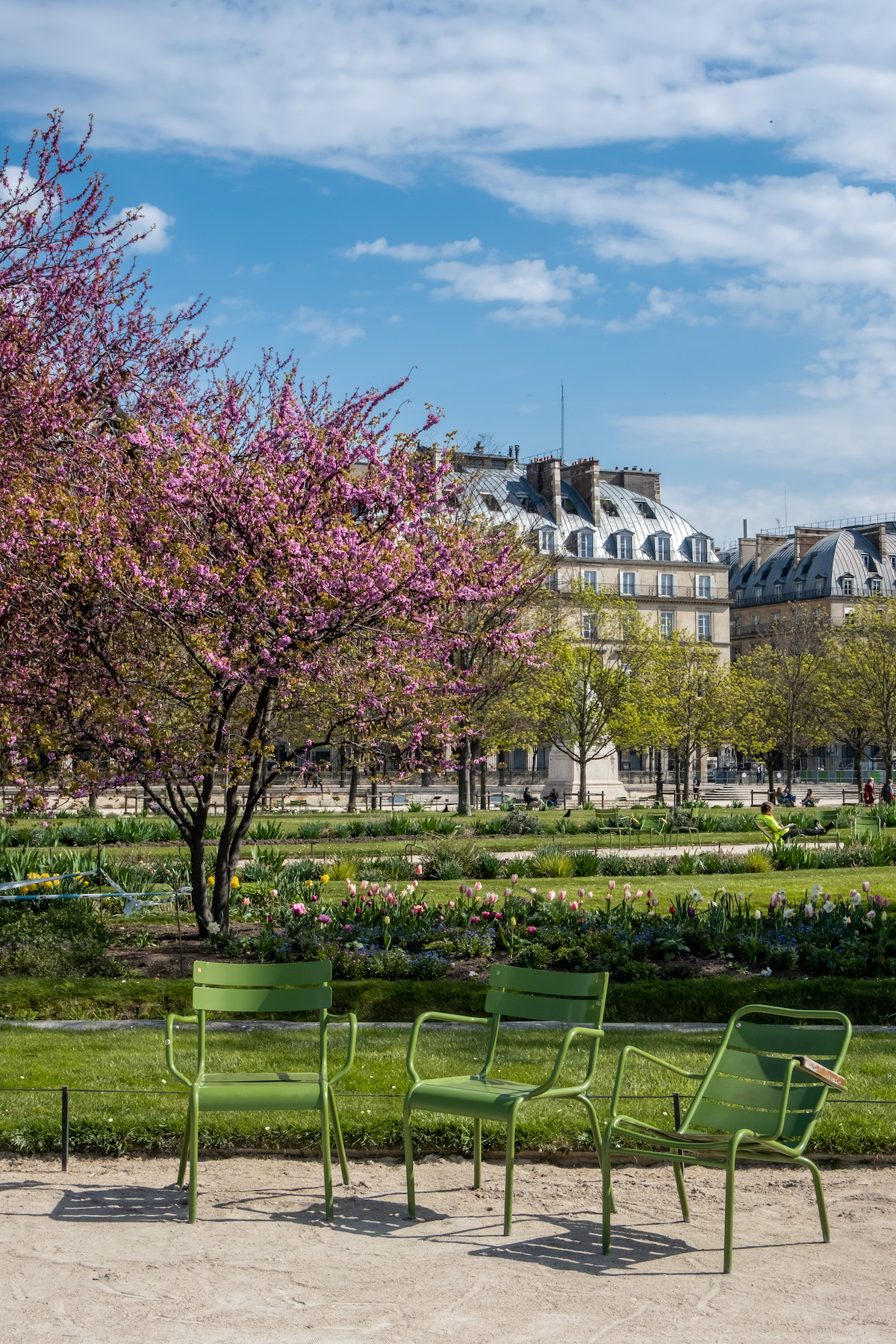 three green chairs in the tuileries paris print