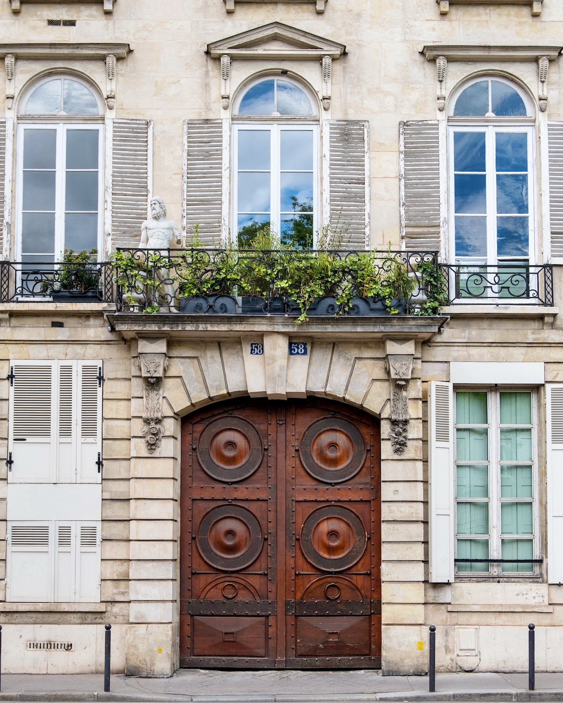 wooden door on the left bank in paris