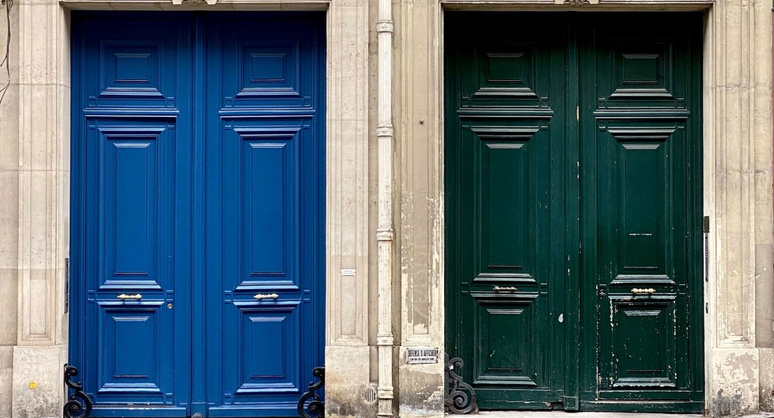 blue and green doors in paris