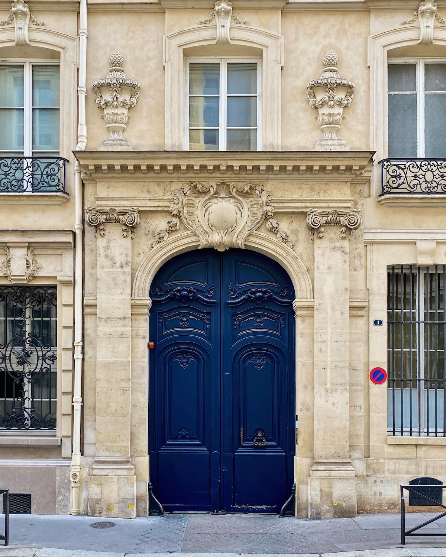 blue door facade in paris