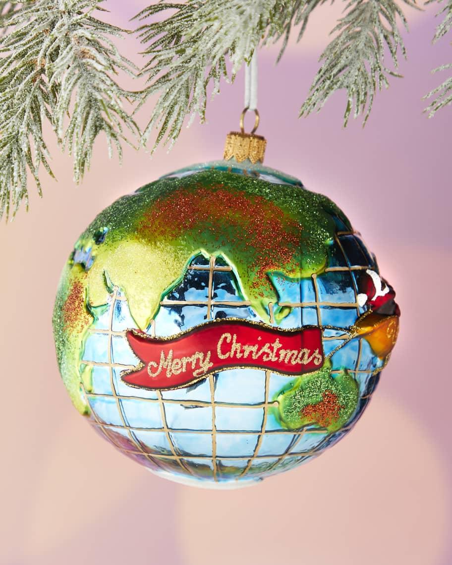santa traveling around the globe christmas ornament